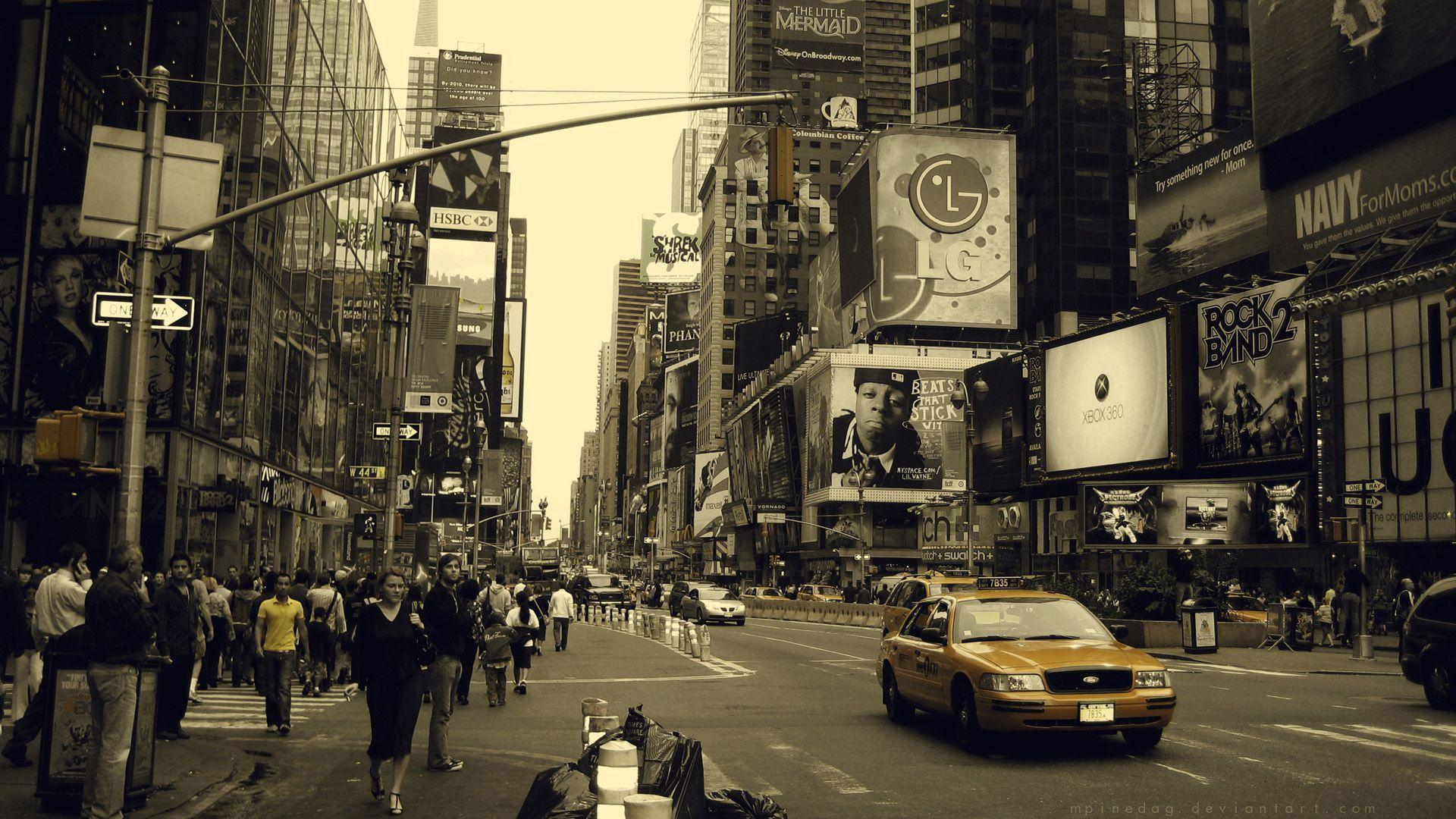 New York Yellow Taxi Times Square wallpaper