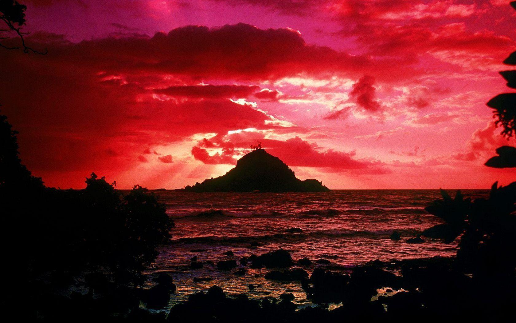 Hawaiian Beach Sunset Wallpaper Background