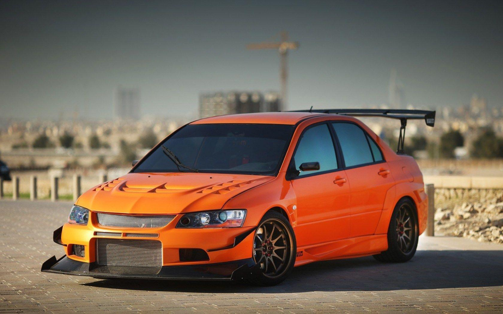 Orange Mitsubishi Lancer Evolution IX Pavement HD Wallpapers