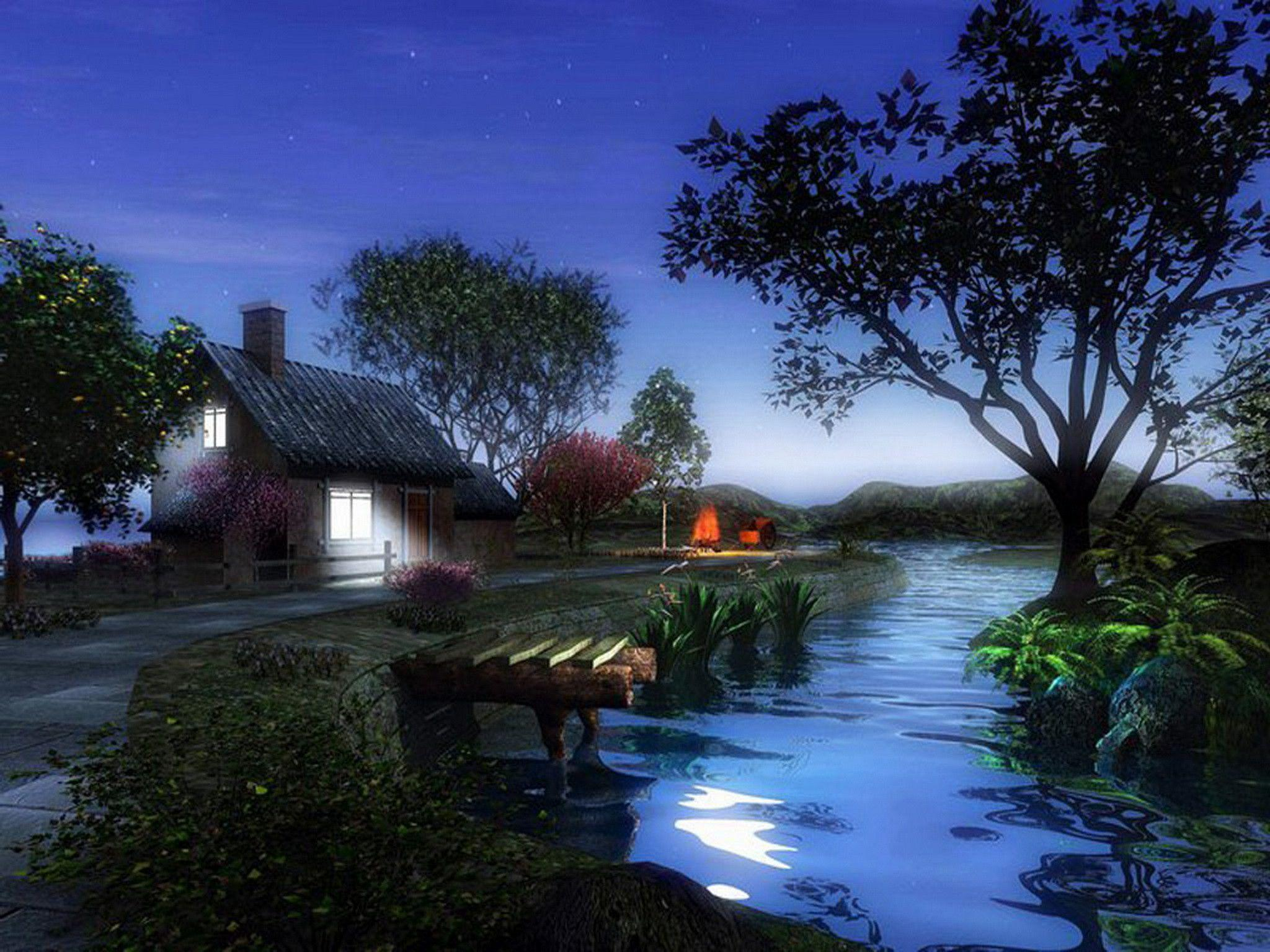House 3D Nature Wallpapers HD Download 17772 Label: 3d,Download,hd .