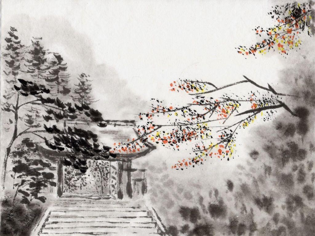 Charcoal Japanese Art | Tablet PC Wallpaper