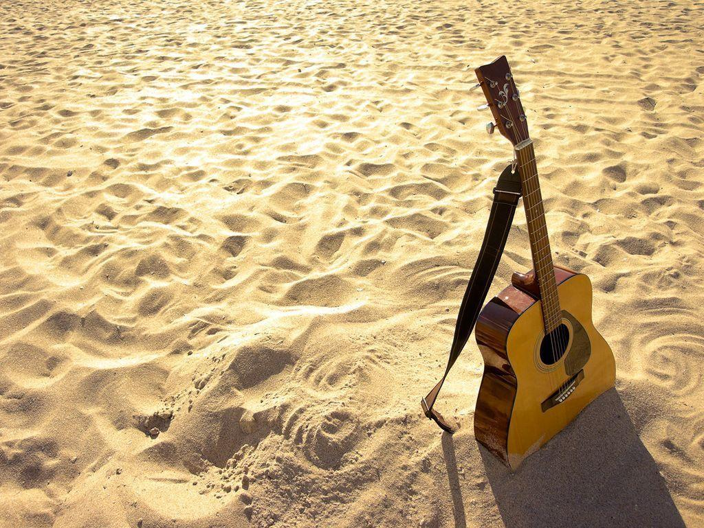 Acoustic Guitar Beach Wallpapers