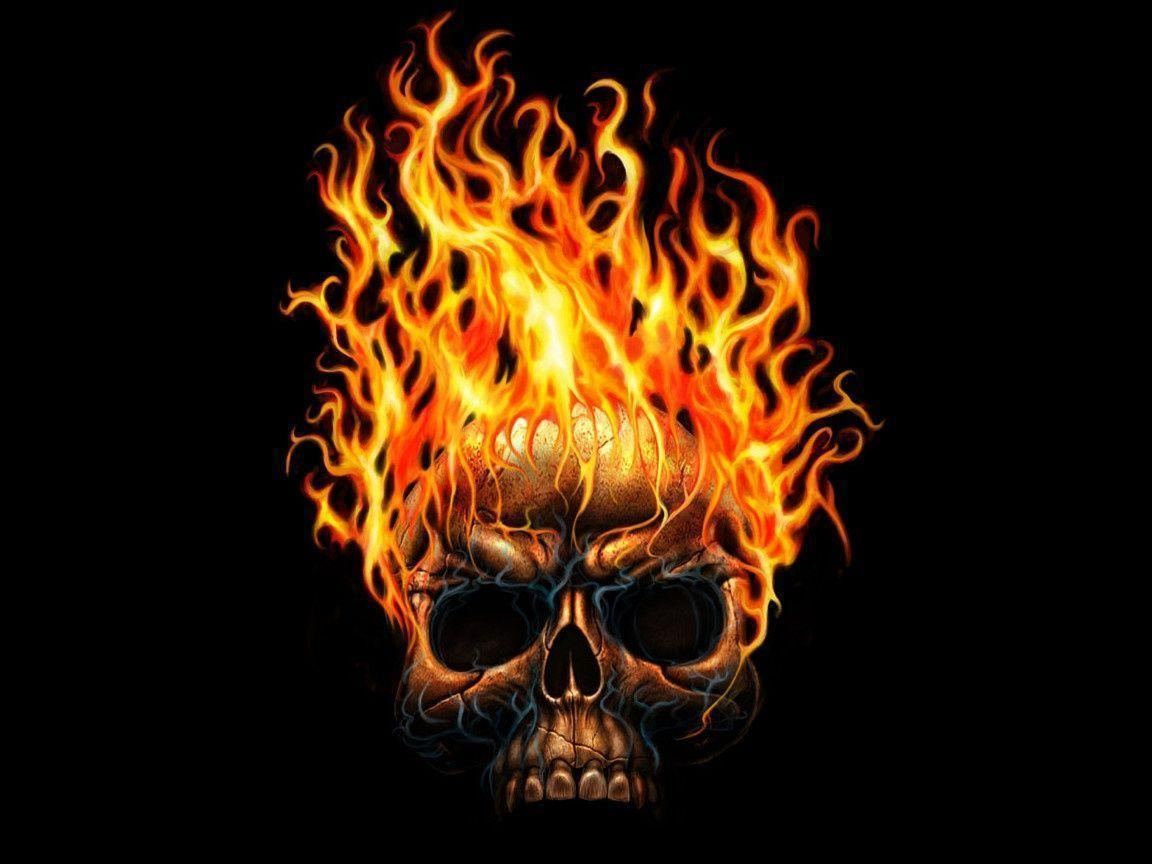 Dark Skull On Fire Wallpapers 1152x864PX ~ Wallpapers Skull Fire