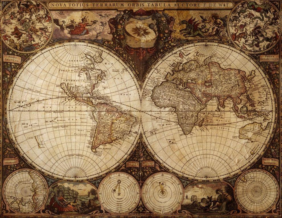 Vintage map wallpapers wallpaper cave for Antique world map wall mural