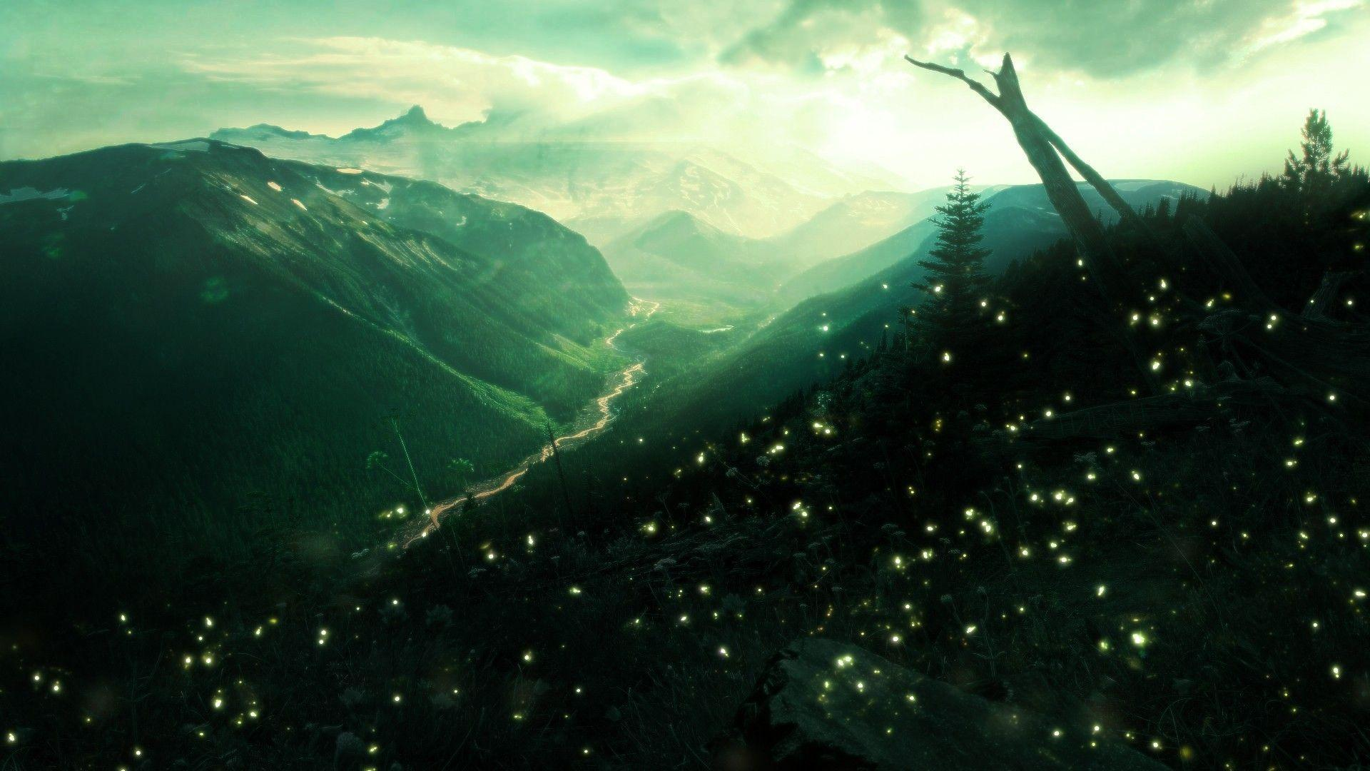 Valley Green Landscapes Mountains insects firefly fireflies sky ...