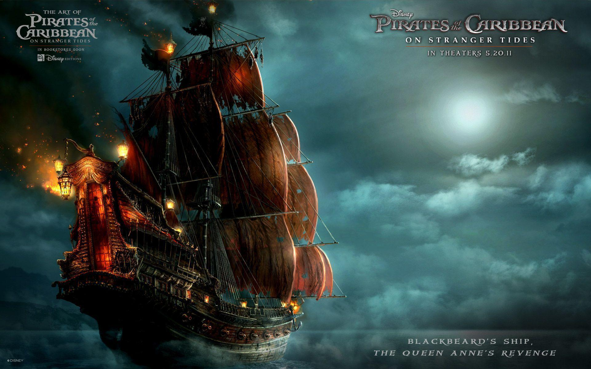 Blackbeard&Ship in Pirates Of The Caribbean 4 Wallpapers