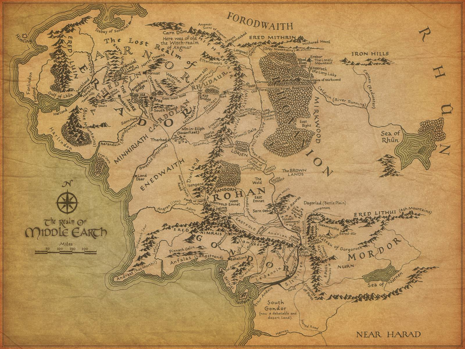 Map of Middle Earth - Lord of the Rings Wallpaper (2329809) - Fanpop