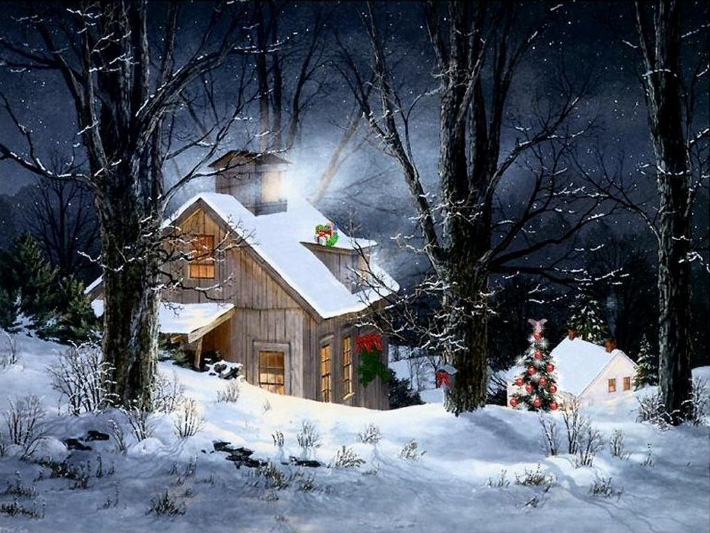 Christmas snow scene wallpapers wallpaper cave - Petite maison de noel decoration ...