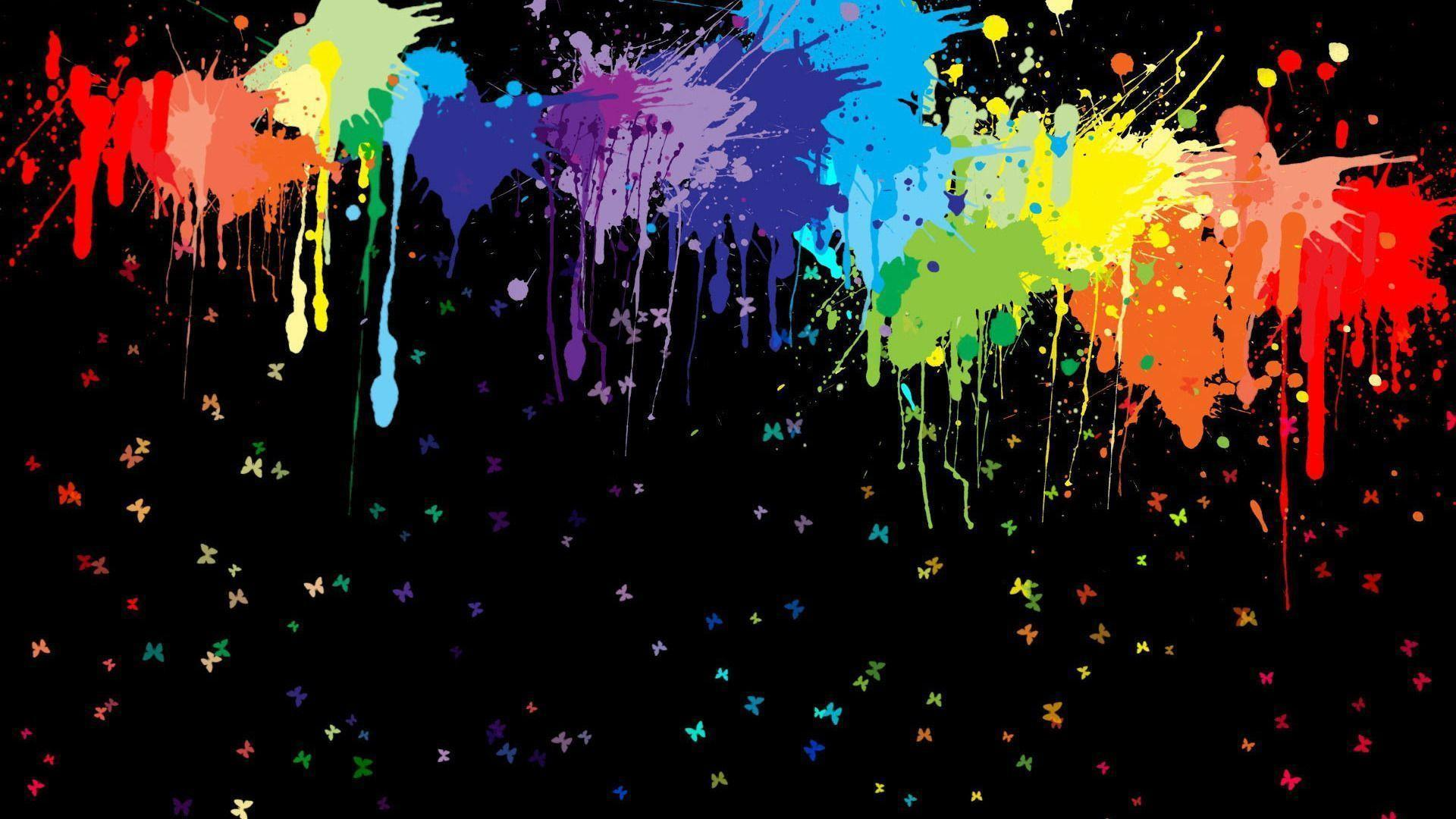 Colorful Paint Splashes Abstract Mobile Wallpaper X