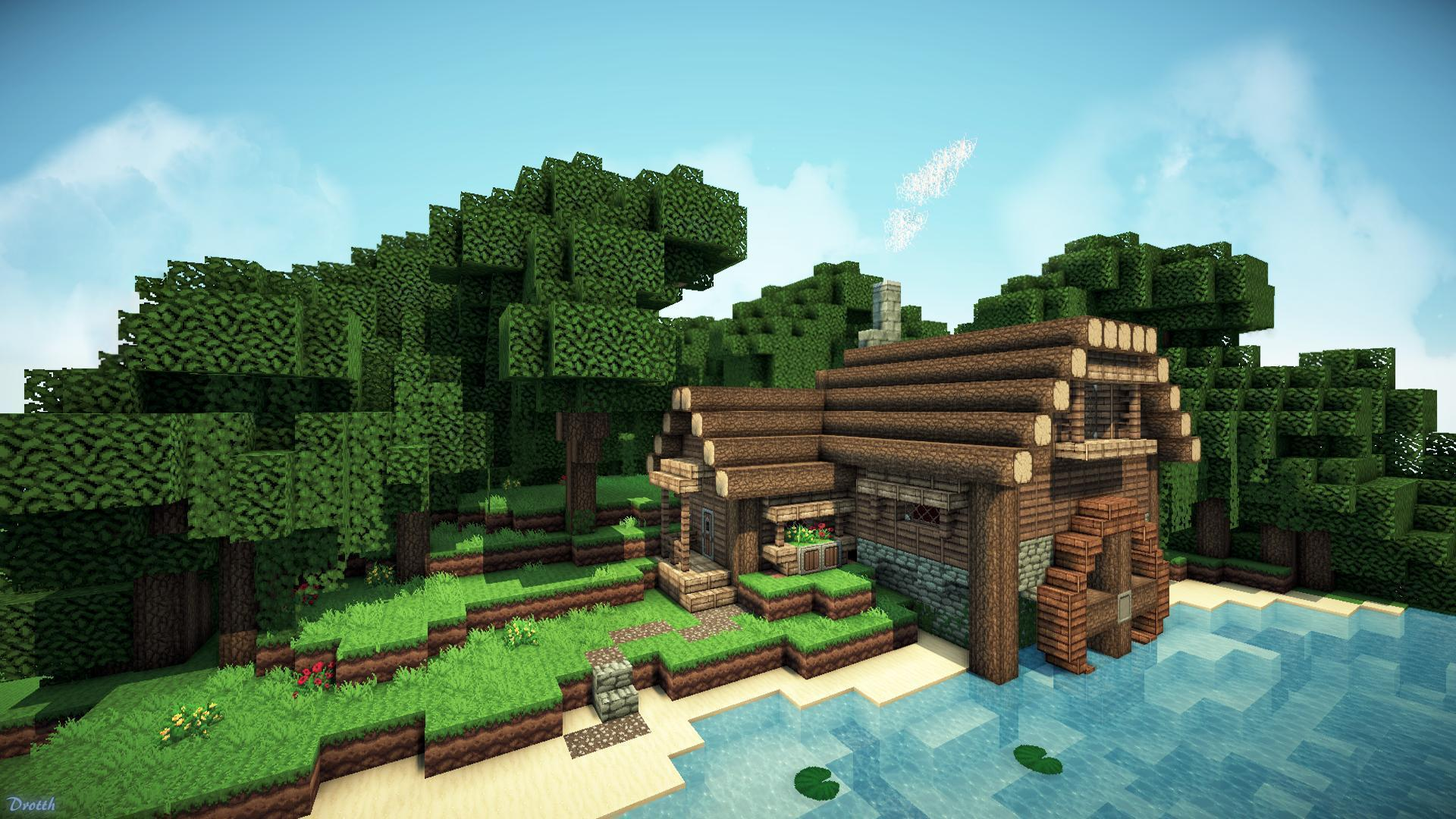 Minecraft Log Cabin ~ Epic minecraft backgrounds wallpaper cave