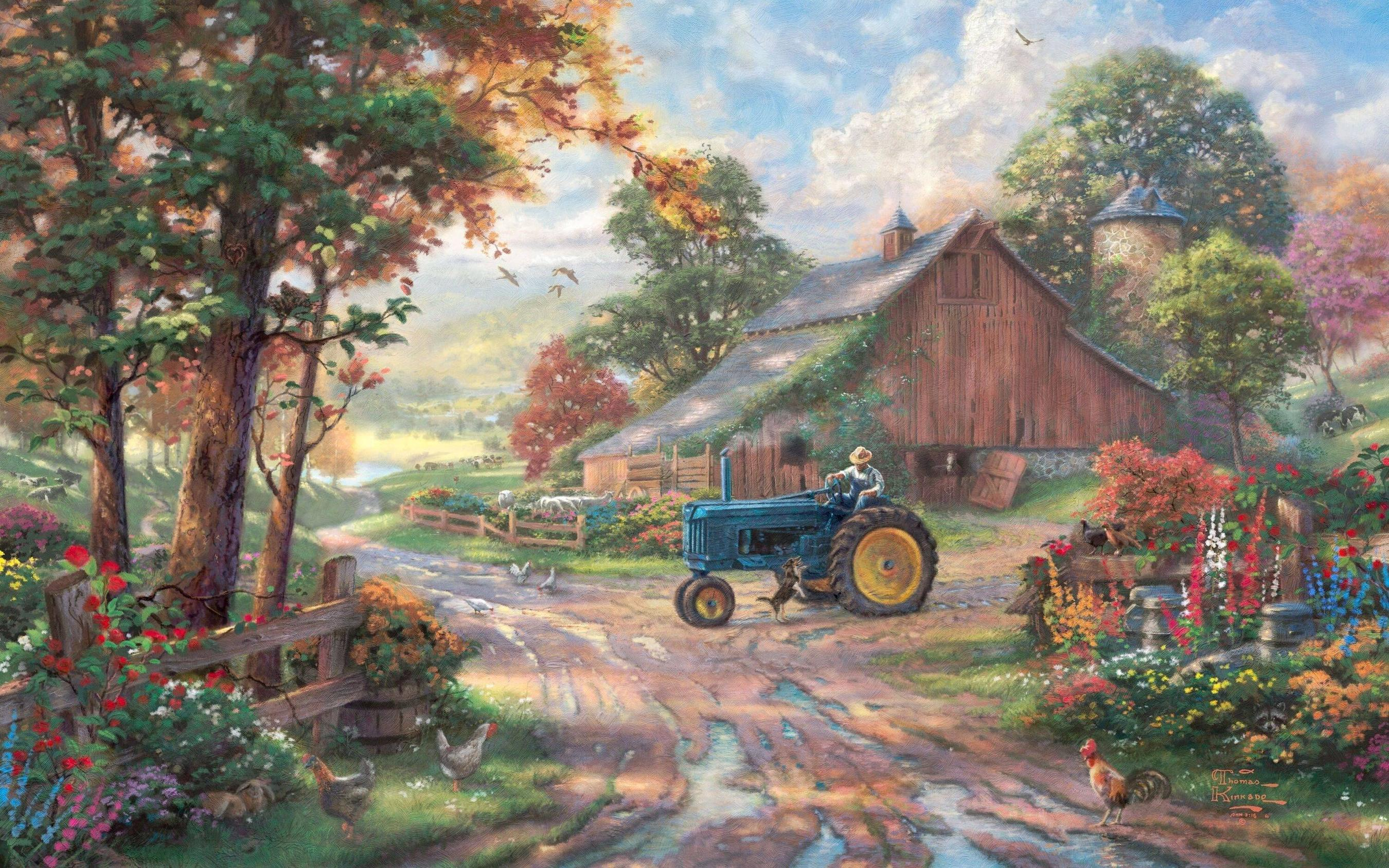 Download wallpaper Thomas Kinkade, Kincaid, painting, summer free .