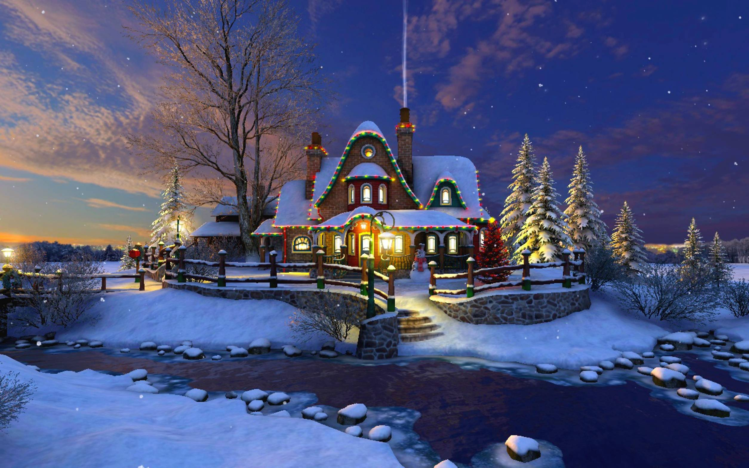 Christmas house wallpapers wallpaper cave for Home wallpaper view