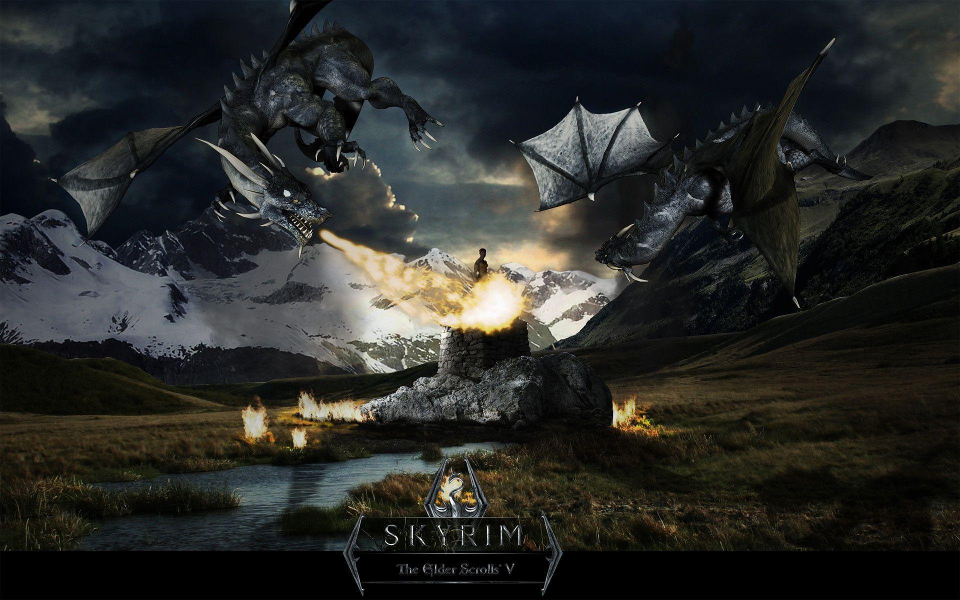 1366x768 dragon fire skyrim - photo #22