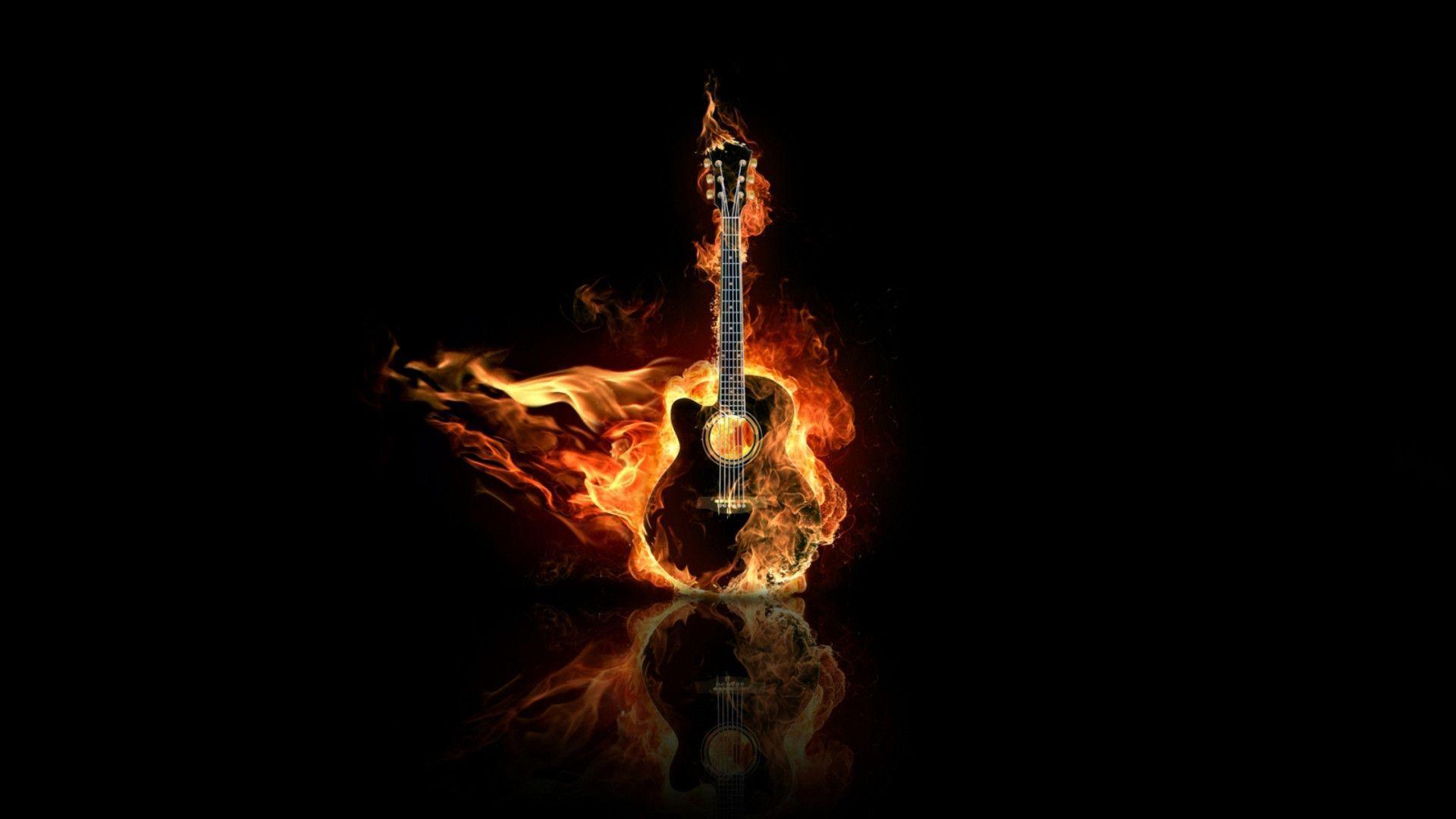 Flaming Guitars Digital Art Hd Wallpaper: 720p Phone Wallpapers