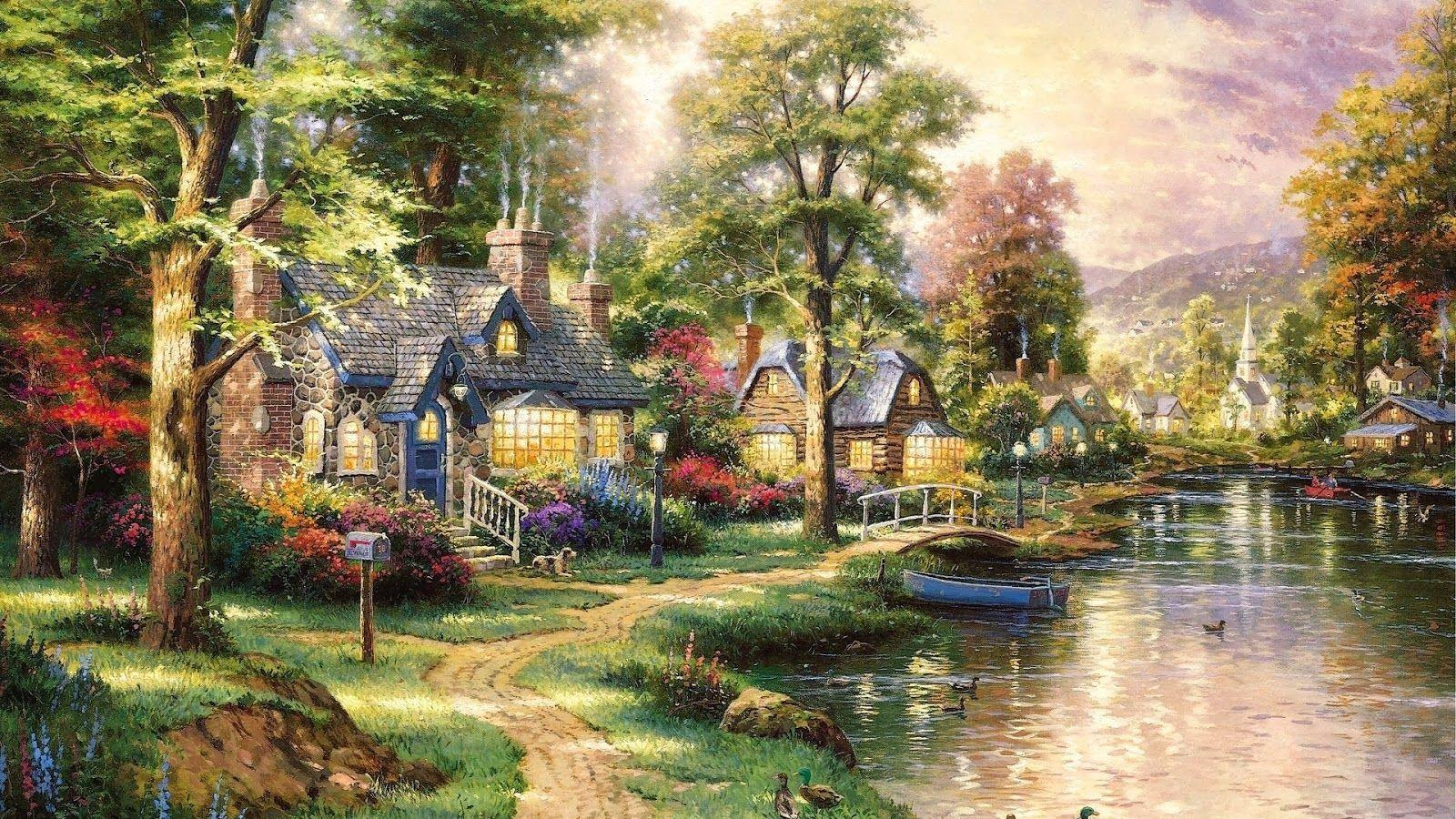 Thomas kinkade disney wallpapers wallpaper cave - Art village wallpaper ...