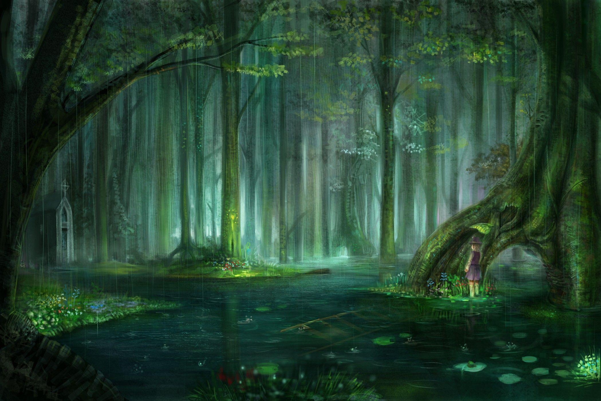 Blondes water landscapes nature touhou trees rain flowers forest ...