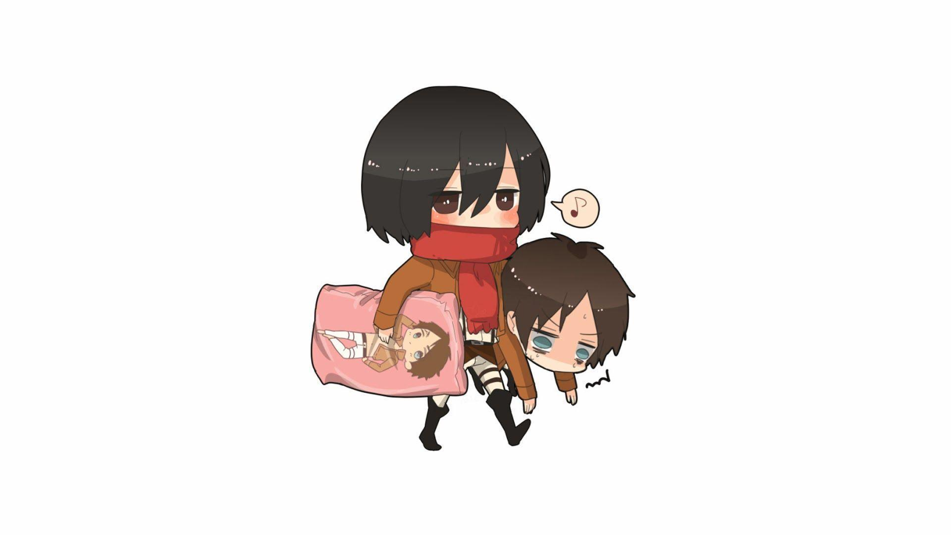 Mikasa adn Eren Chibi Anime 68 HD Wallpapers