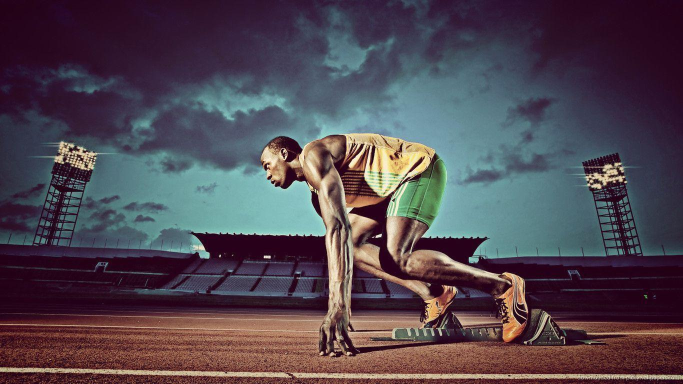 Download 1366x768 Usain Bolt Night Start Wallpaper