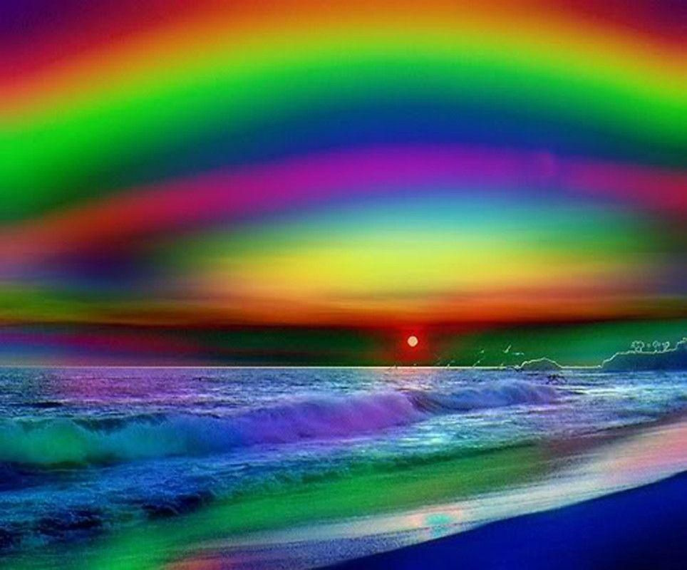 awesome abstract rainbow sunset powerpoint backgrounds ...