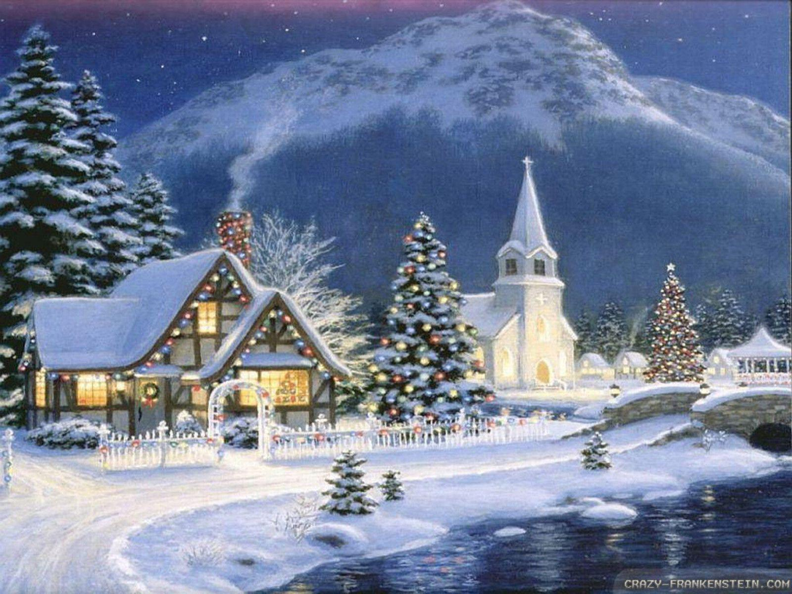 old fashioned christmas town wallpaper - photo #28