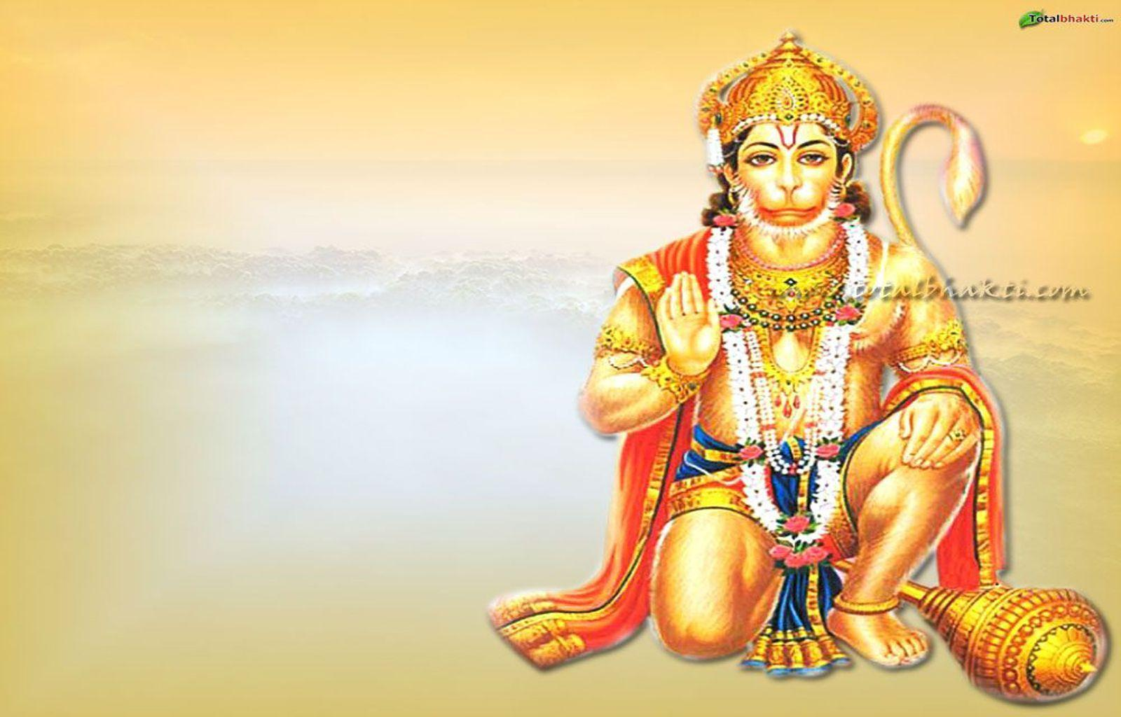 hanuman wallpaper, Hindu wallpaper, Lord Hanuman blessing, orange