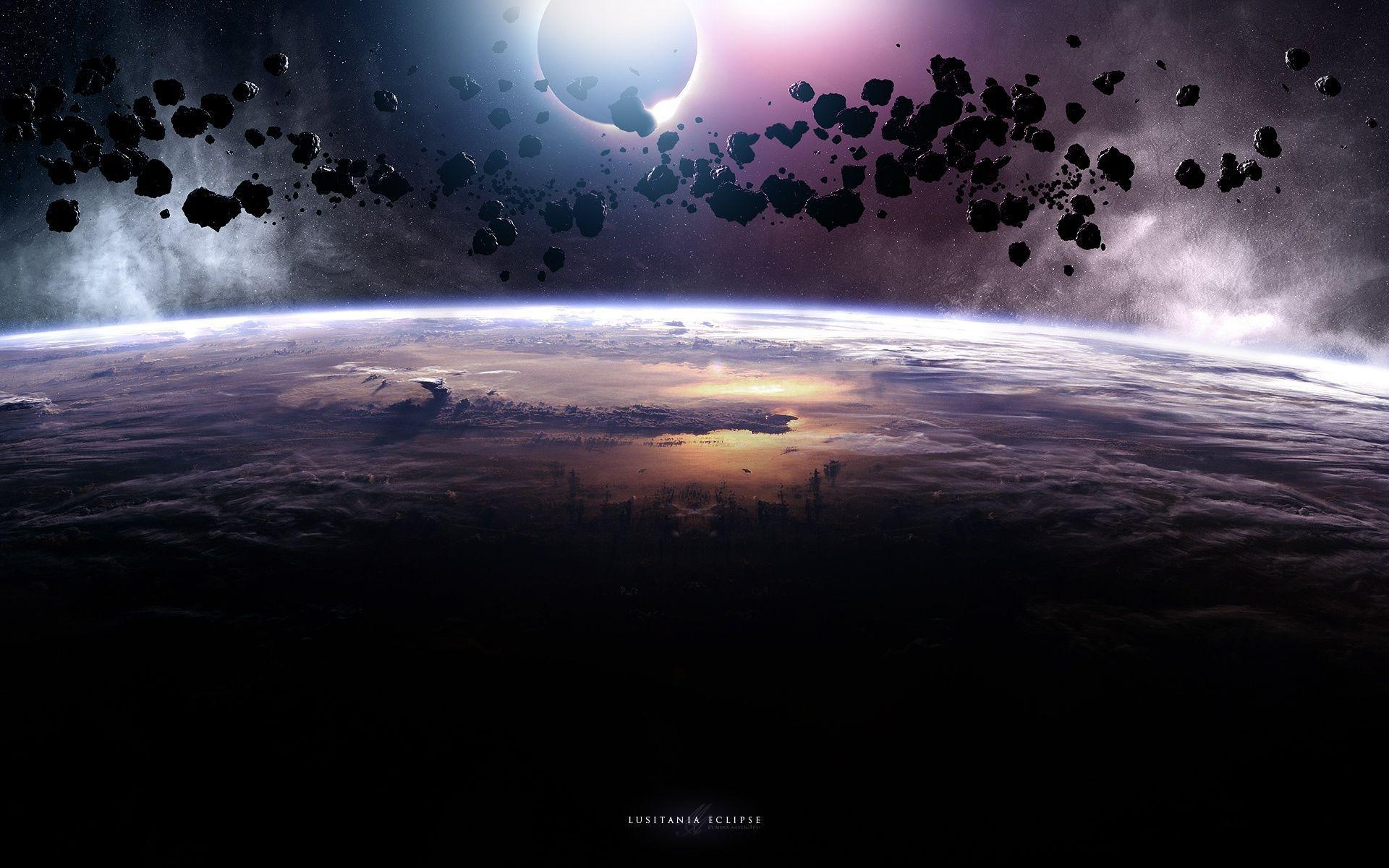 Planet Eclipse Wallpaper and Stock Photo