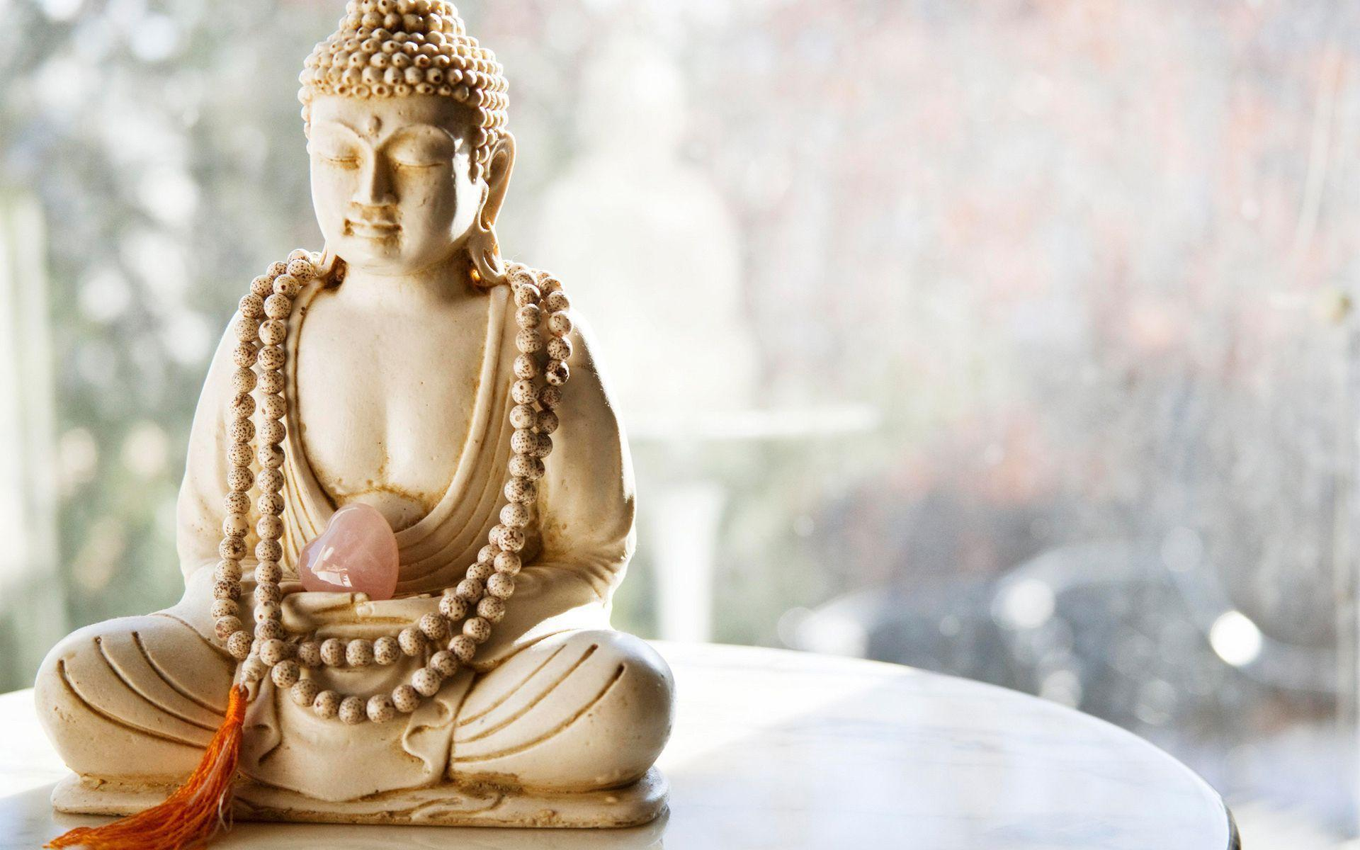 Wallpaper buddha statue, rosary beads, tassel, heart, stone ...