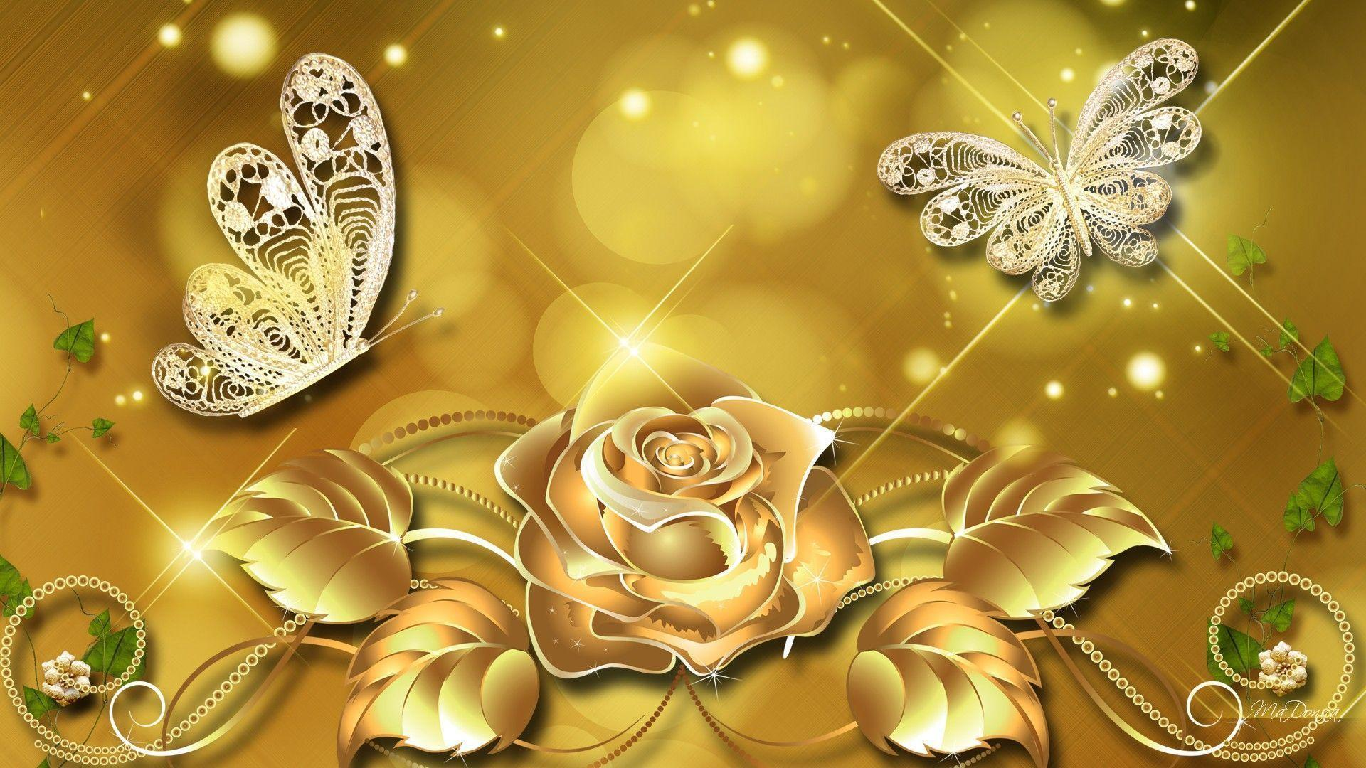 white and gold floral wallpaper - photo #42