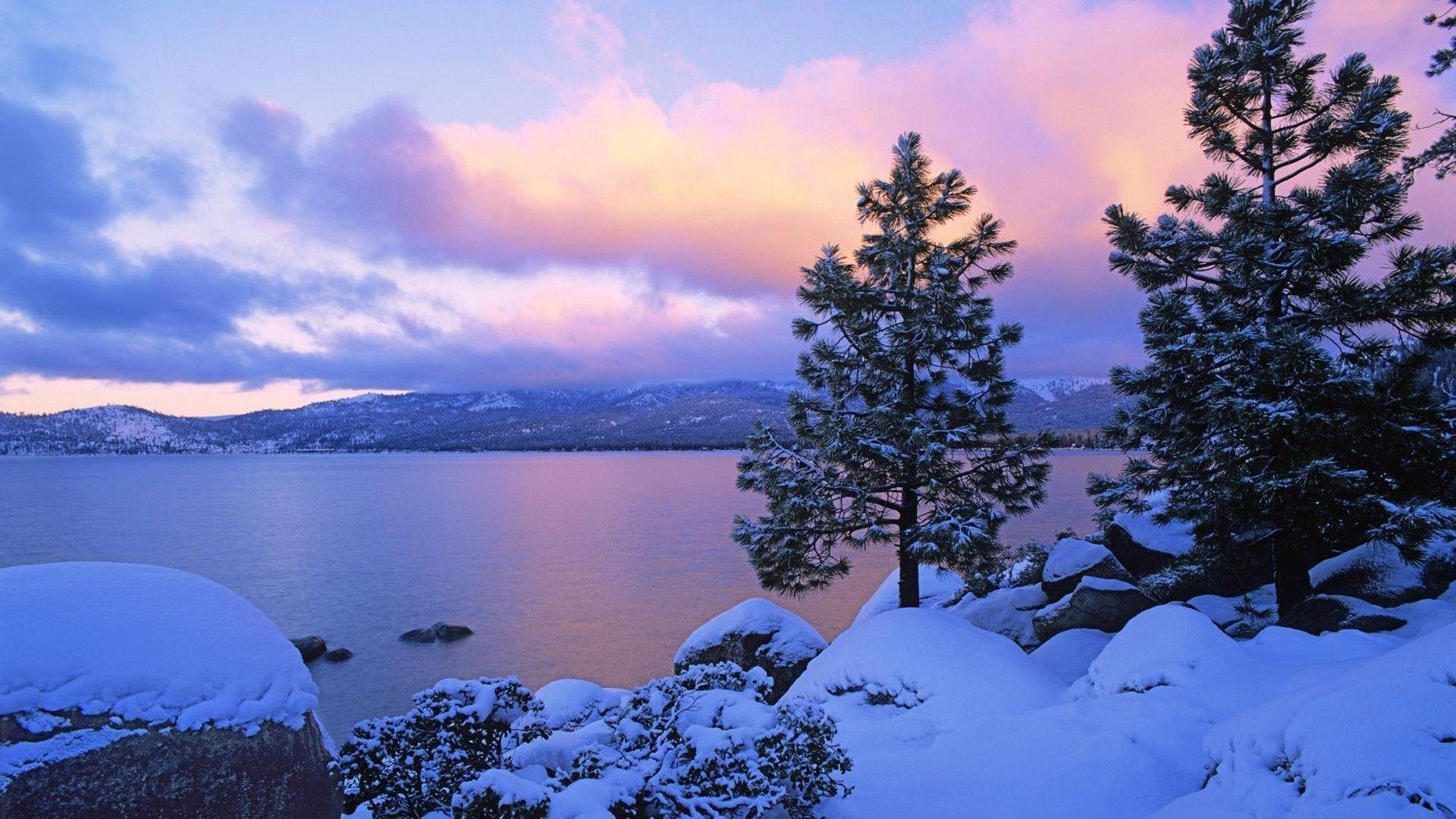 Lake at dusk in winter Wallpaper | 1920x1080 resolution wallpaper ...