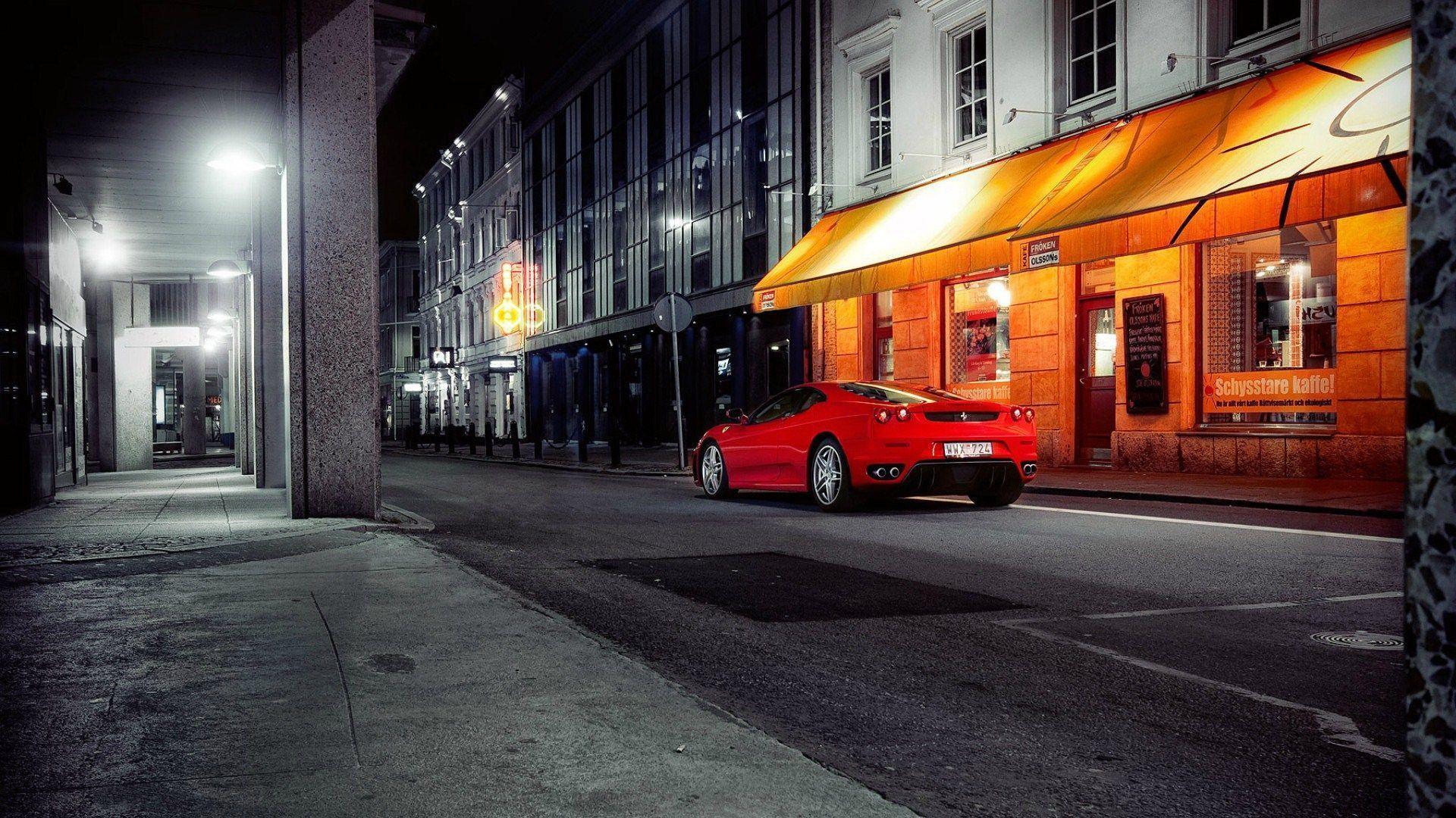 Download Ferrari On Cobblestone Street In Town Hd Wallpaper  Background