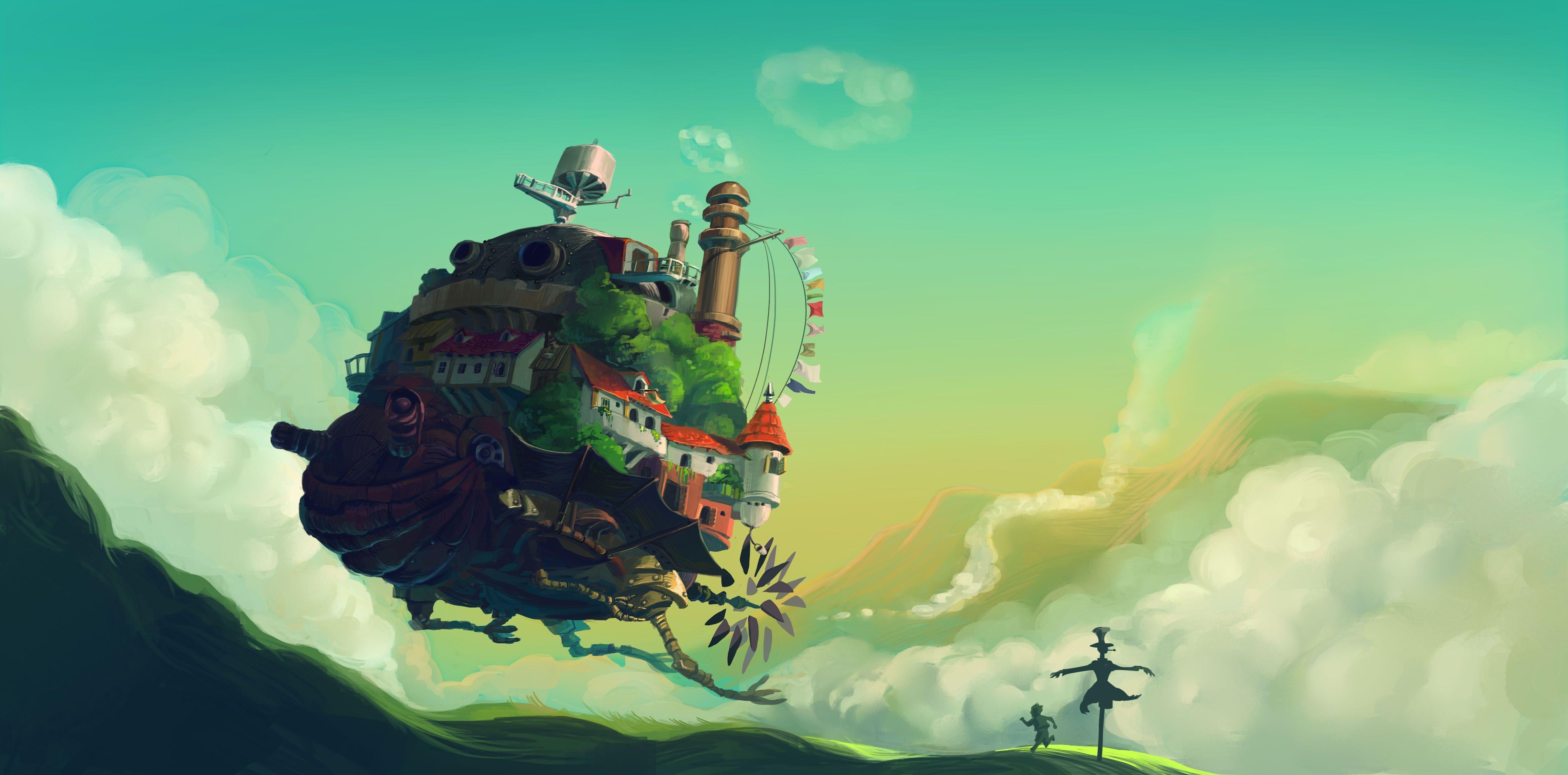 Download Wallpaper Howl Moving Castle Hayao Miyazaki Hills