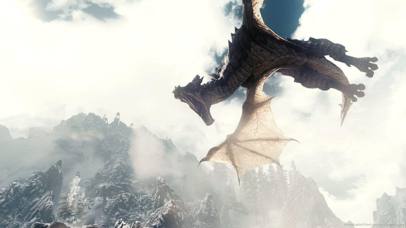 Download 1366x768 Skyrim Aggressive Dragon Wallpapers