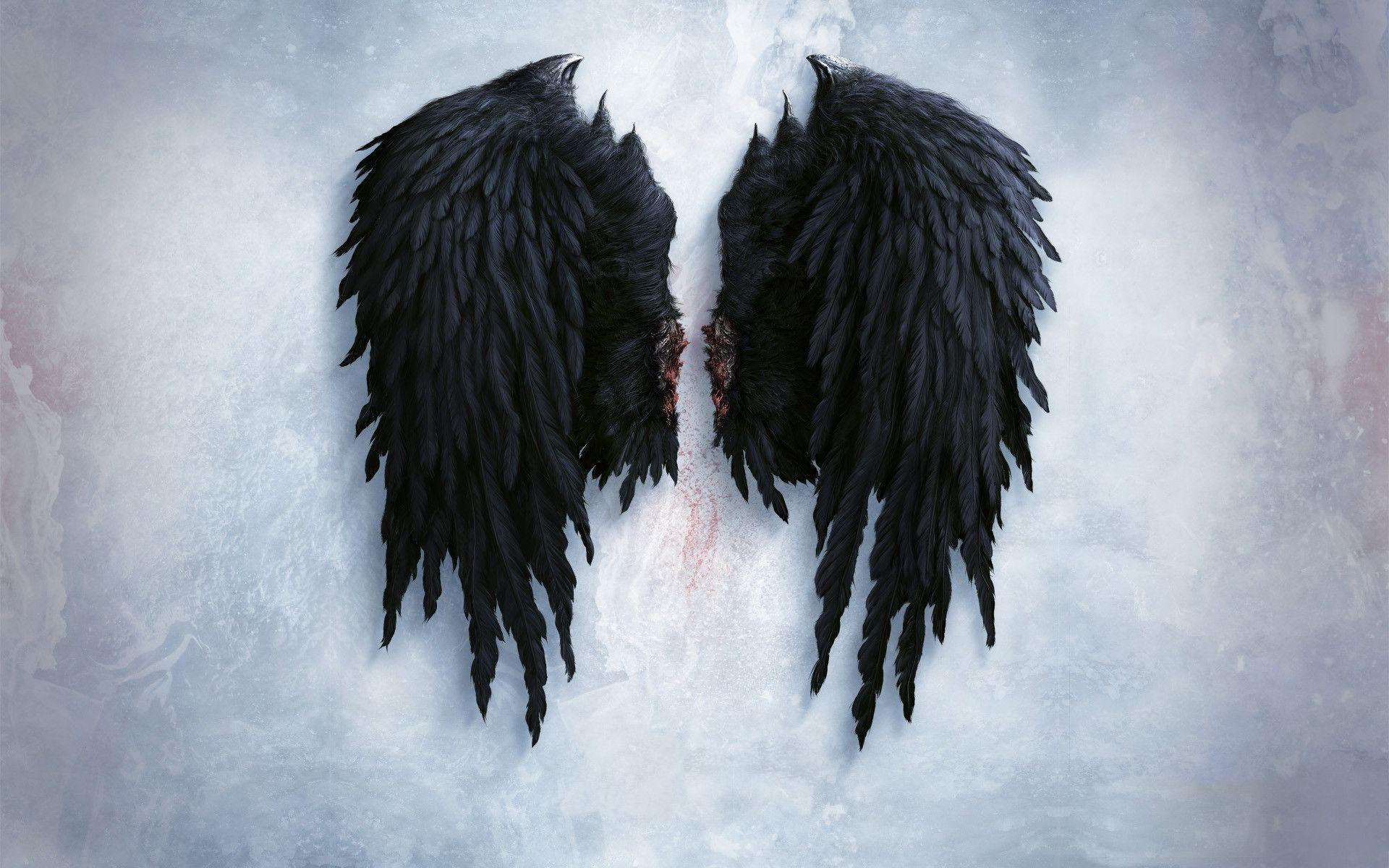 angel wings black background - photo #5