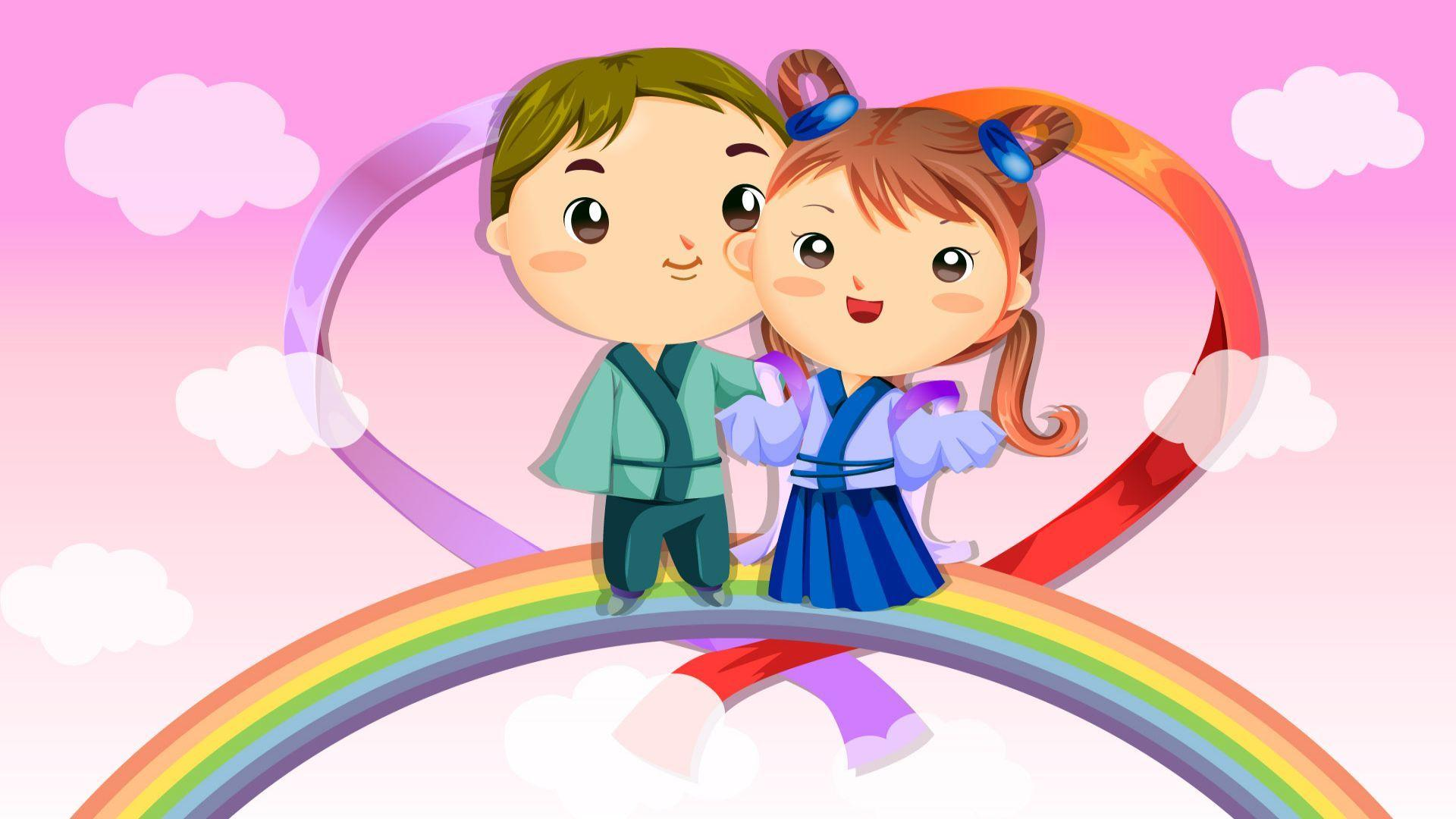 Cute Couple Fall In Love Cartoon Wallpapers