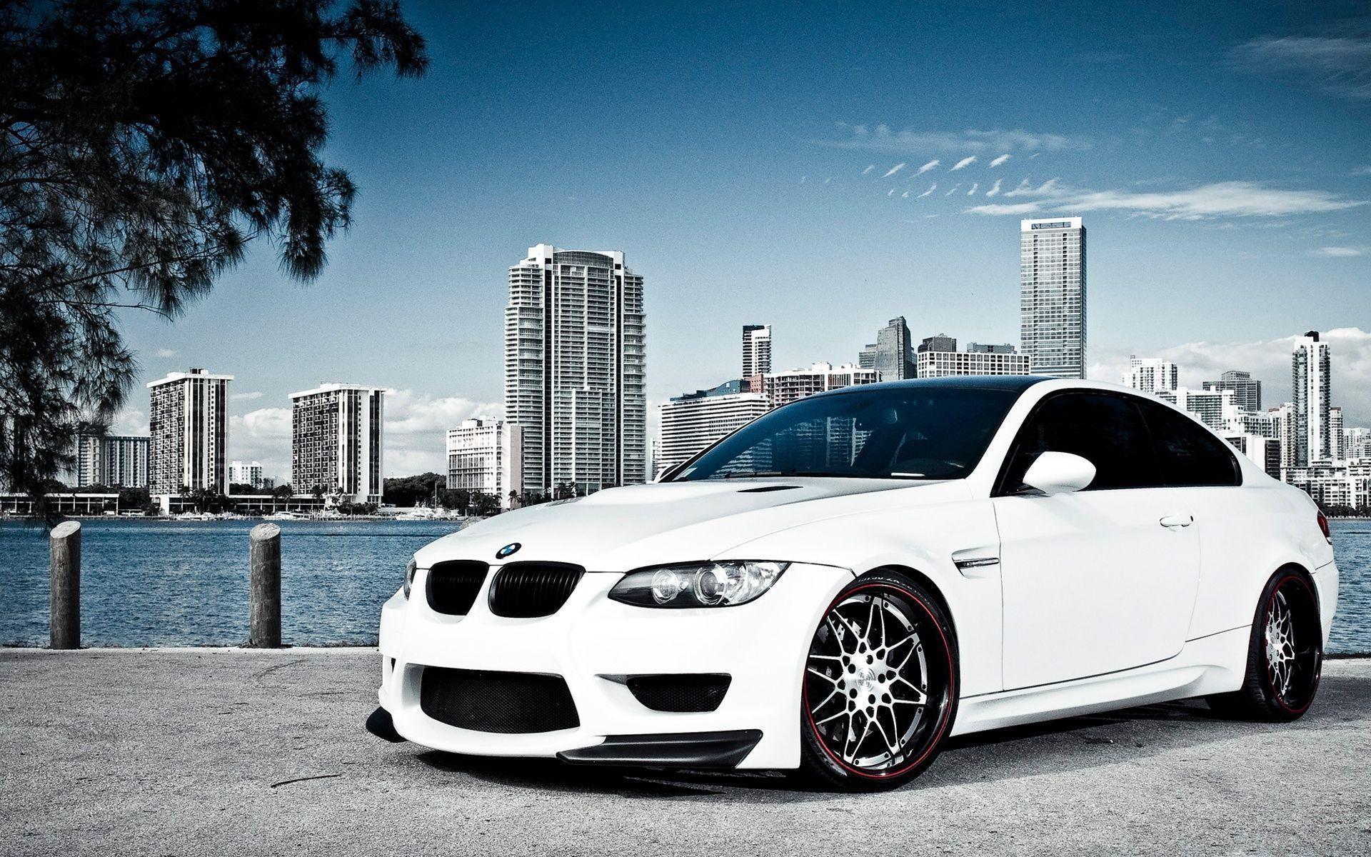 White BMW M3 Over Miami Wallpapers