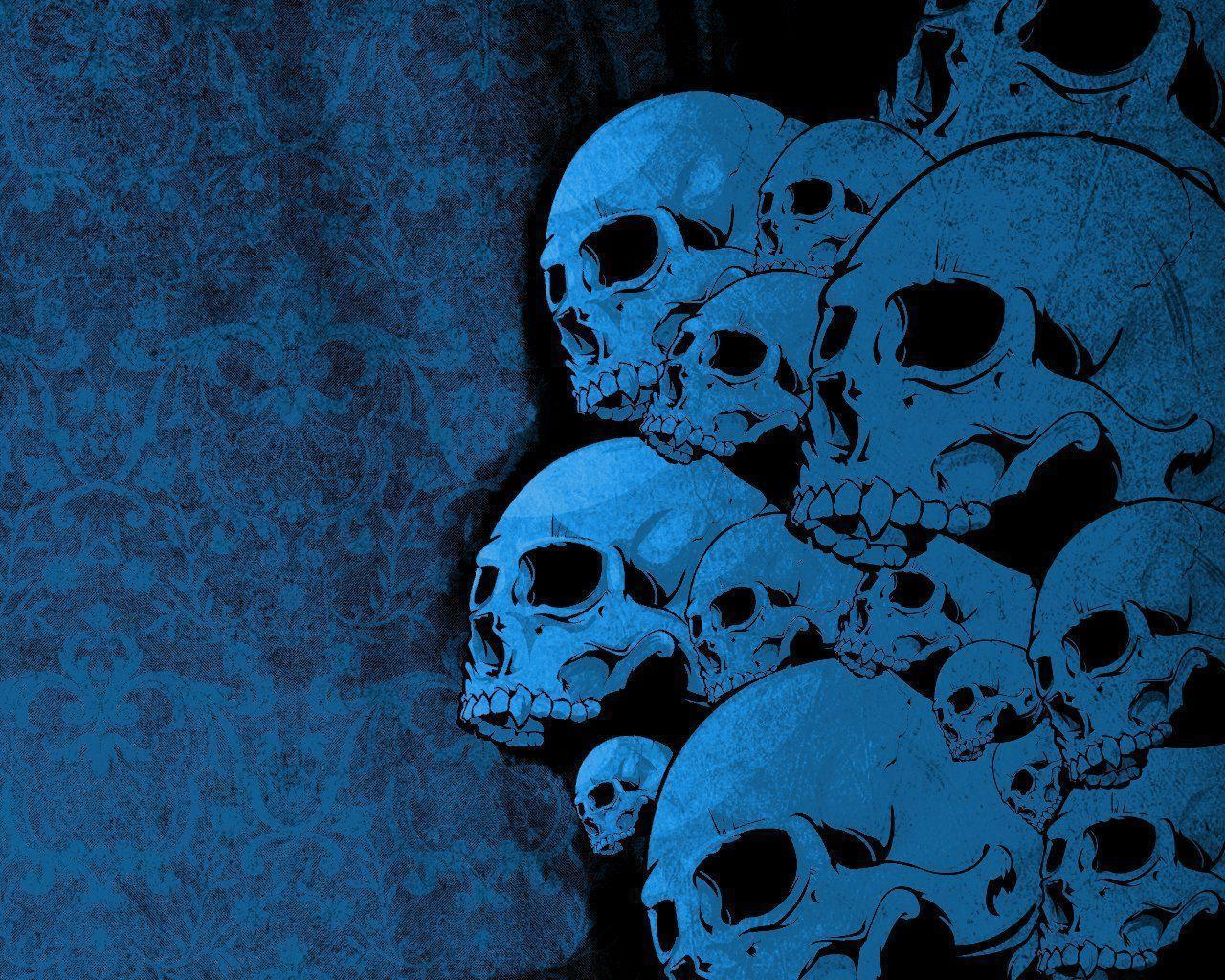 Blue Vector Skulls Wallpaper From Wallpapers