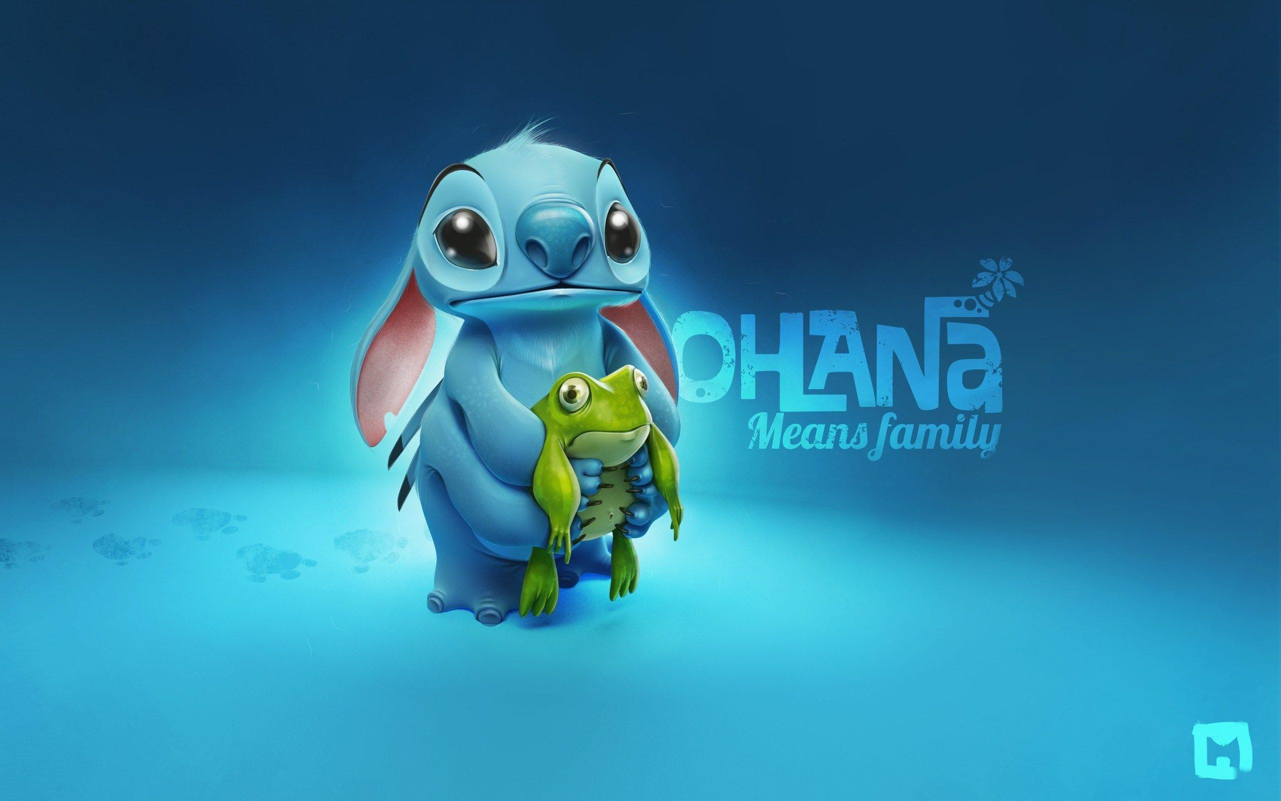 Blue Backgrounds Stitch and Frog Cartoon HD Wallpapers
