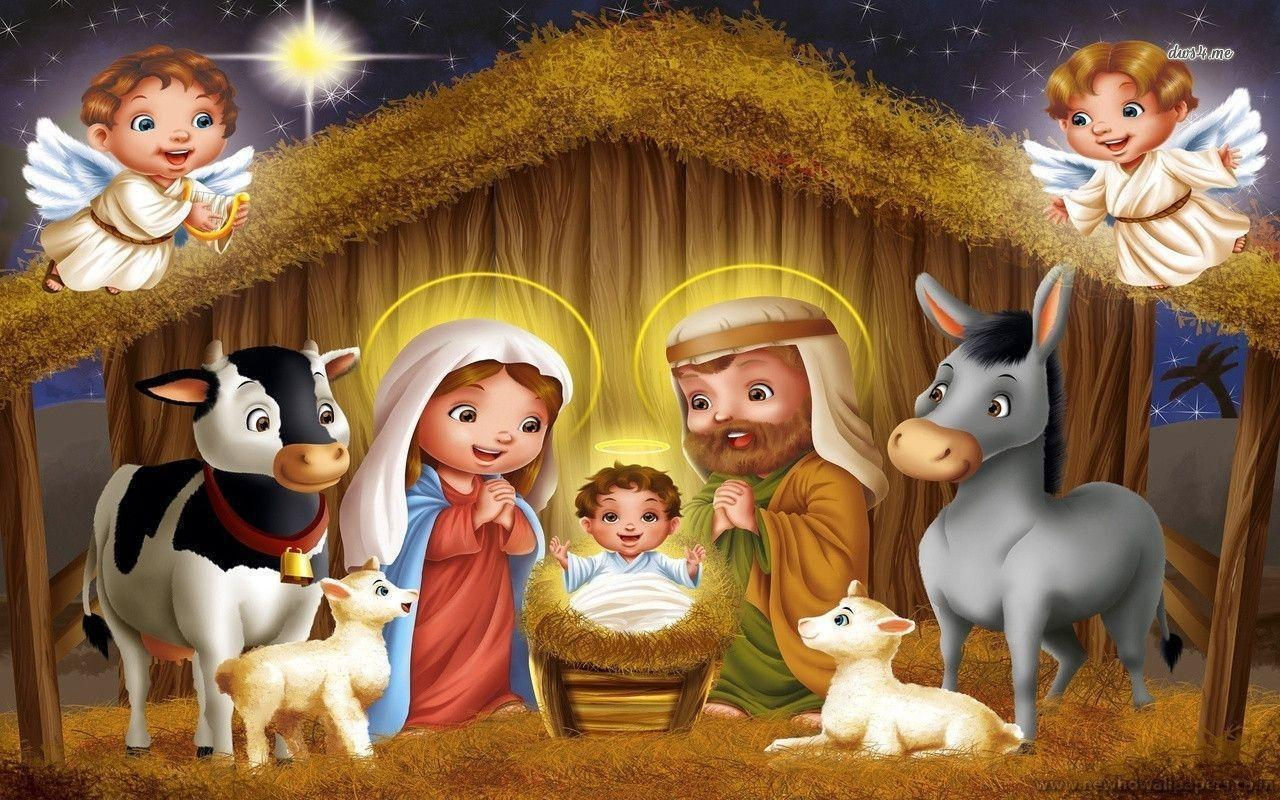 Cartoon nativity scene wallpapers