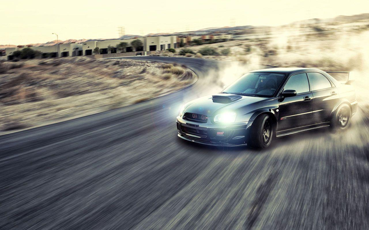 Black Subaru Impresa STI Drifting Car Wallpaper - Cool Car Wallpapers