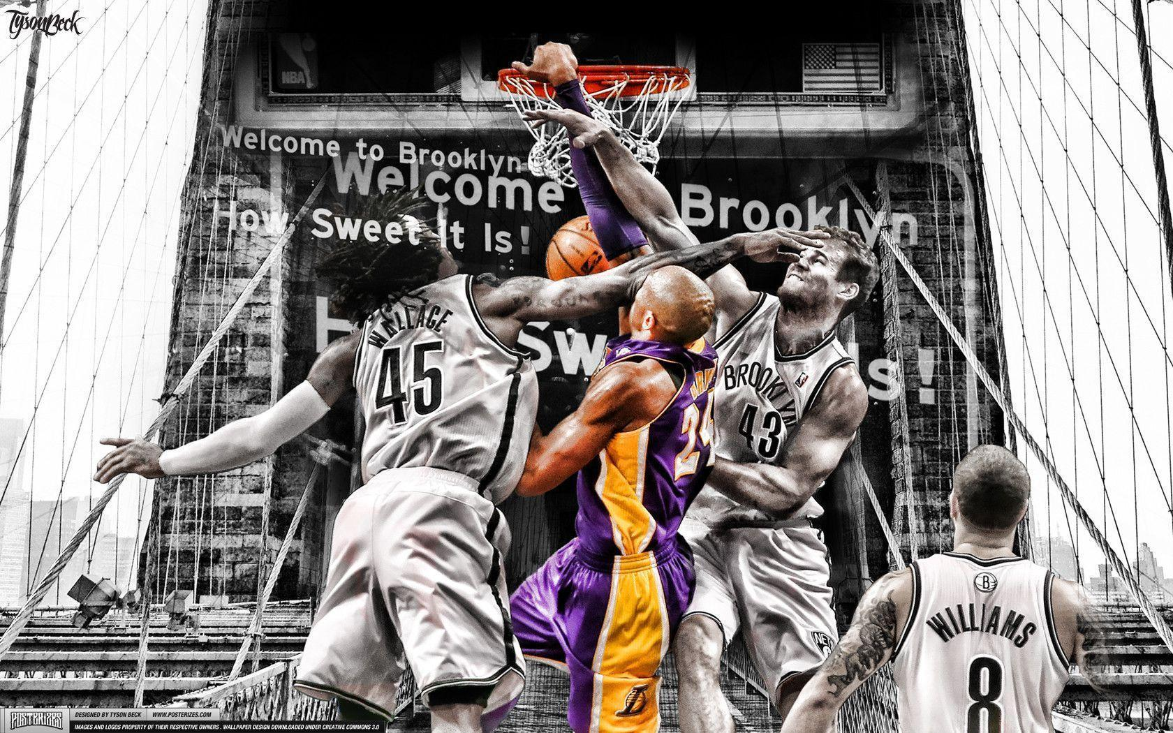 Kobe Bryant dunks on Brooklyn Wallpapers