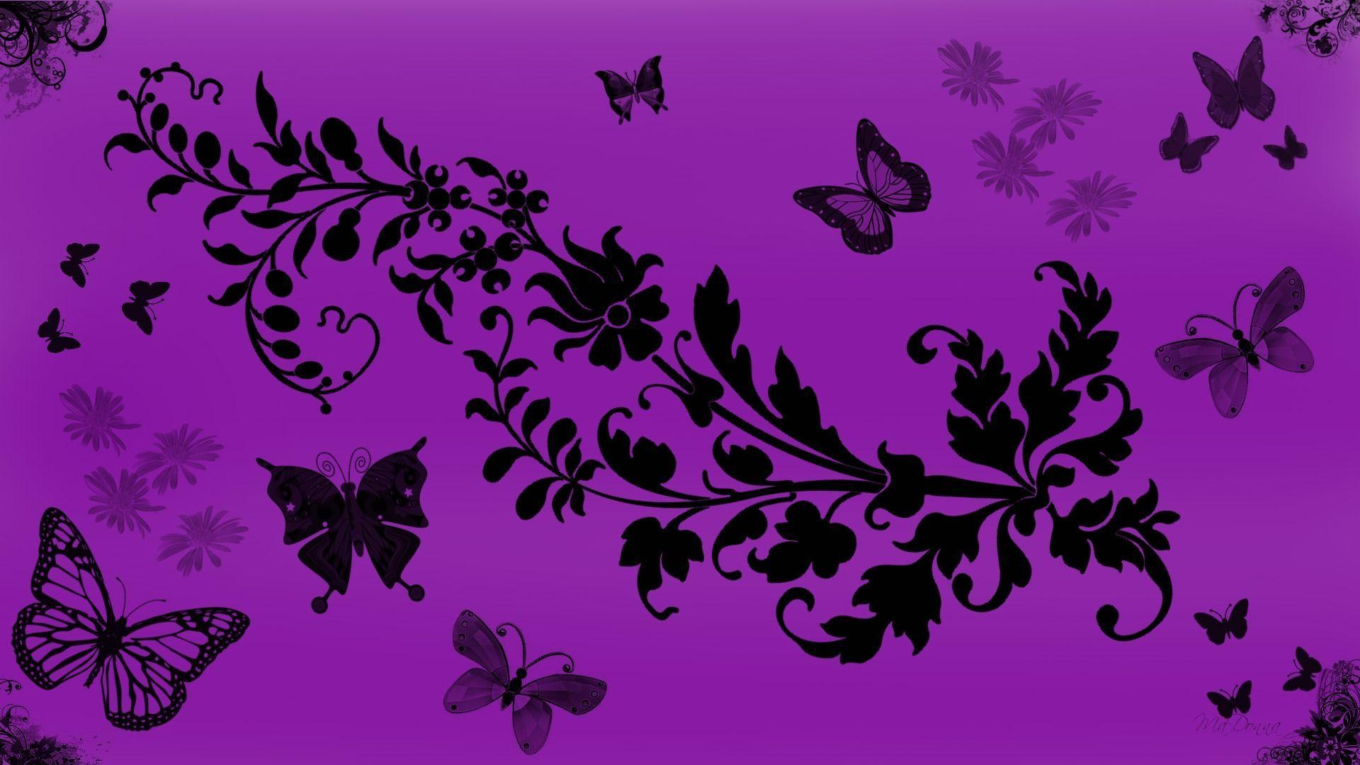 Purple butterfly wallpapers wallpaper cave for Purple wallpaper for home