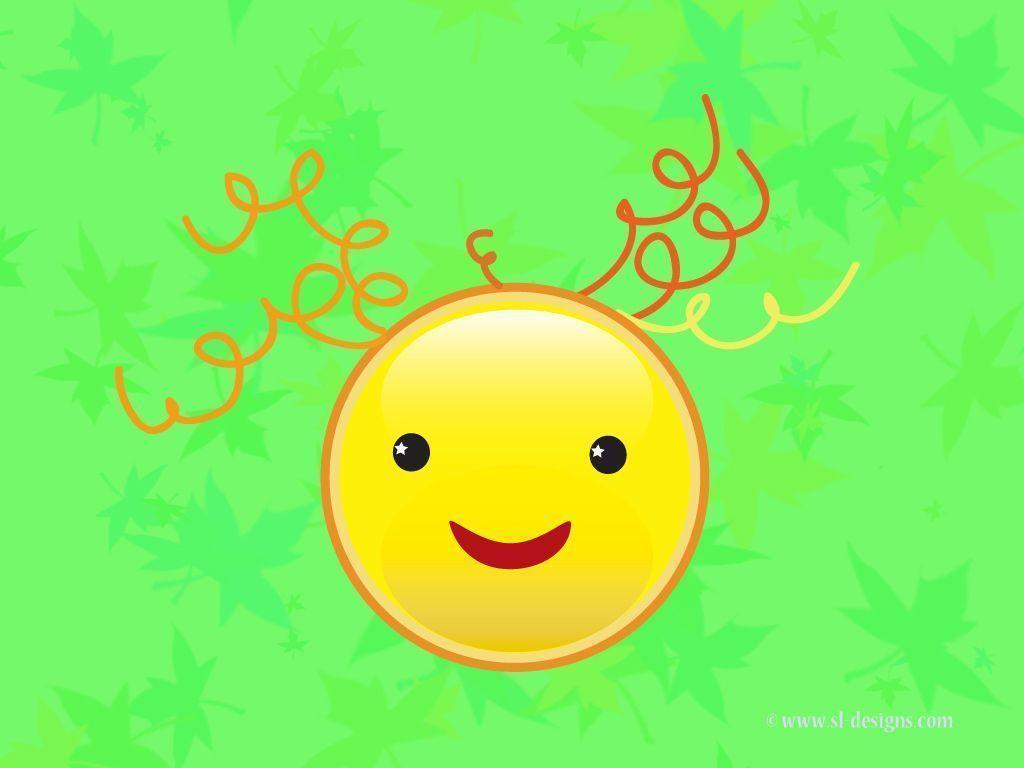 Smiley face on green desktop wallpapers