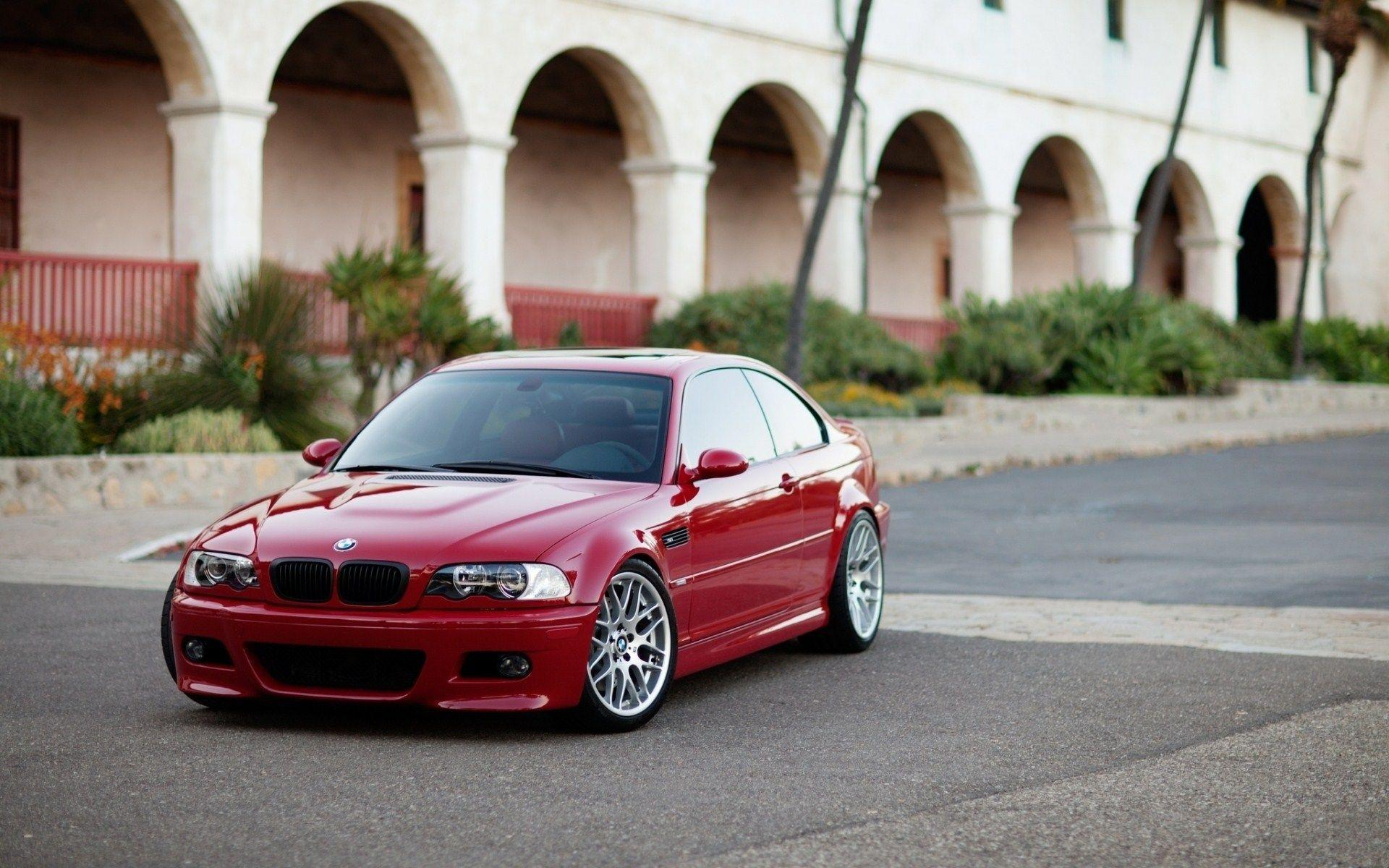 BMW M3 E46 Red Building HD Wallpapers