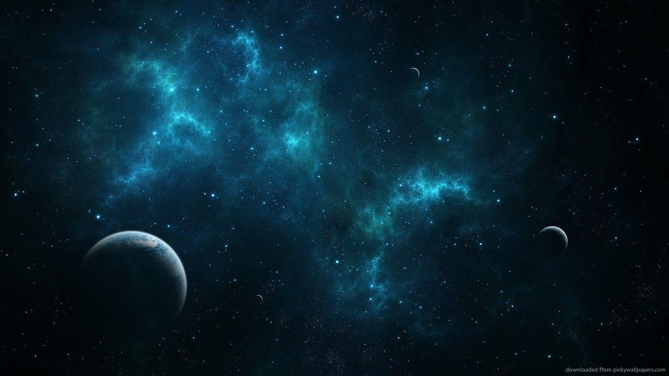 Download 1366x768 Deep Blue Space Wallpapers