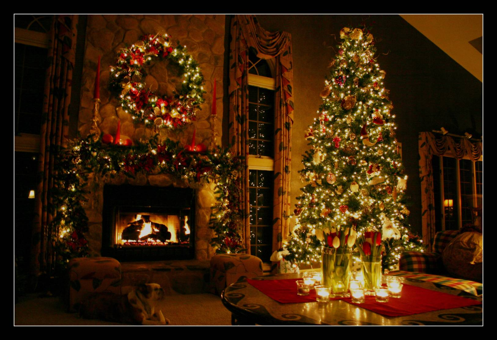 free christmas fireplace wallpapers wallpaper cave