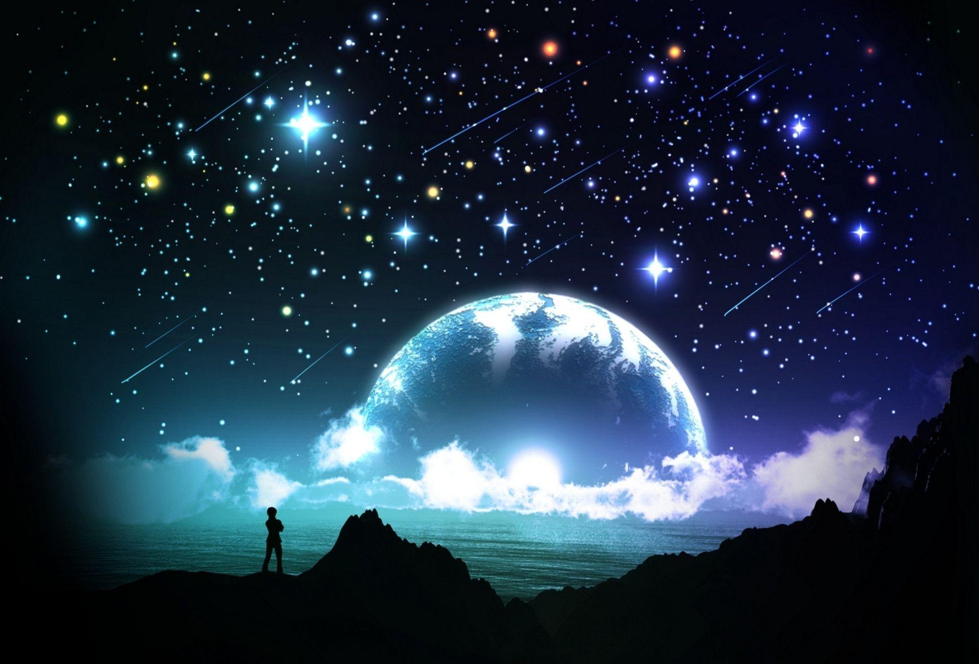 Wallpapers For > Desert Night Sky Stars Wallpaper
