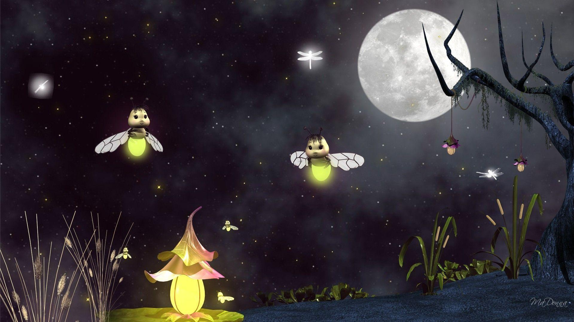 Fireflies and Dragonflies : Desktop and mobile wallpaper : Wallippo