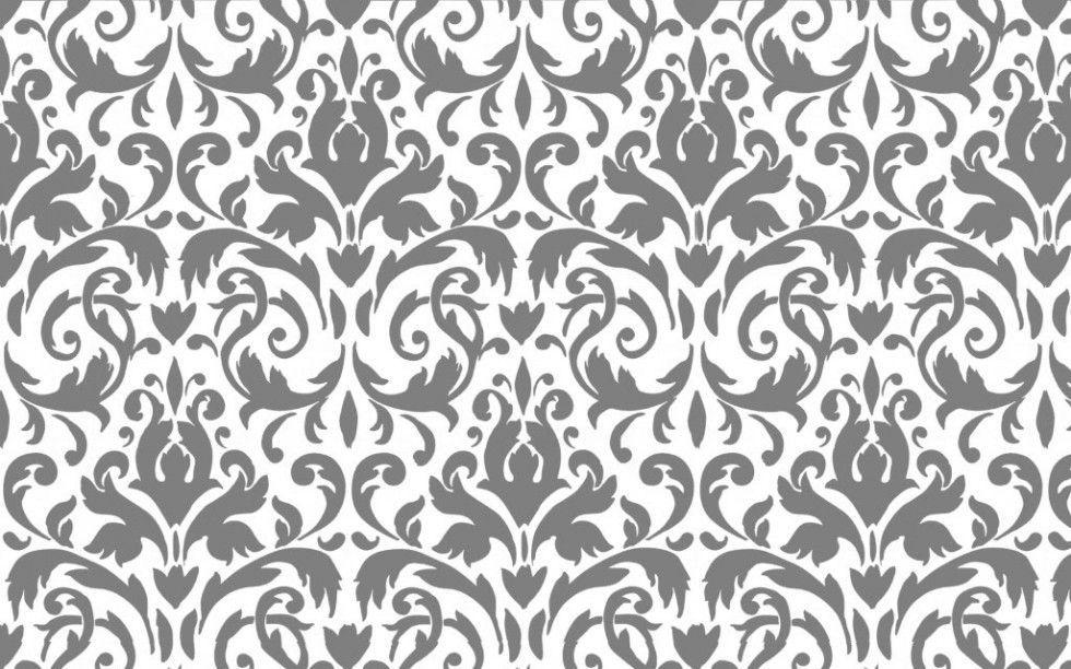 Damask desktop wallpapers wallpaper cave for Grey and white wallpaper