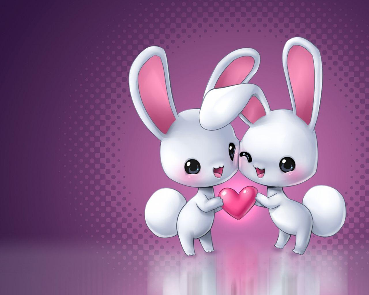 In Love Cartoon Bunnies Wallpapers