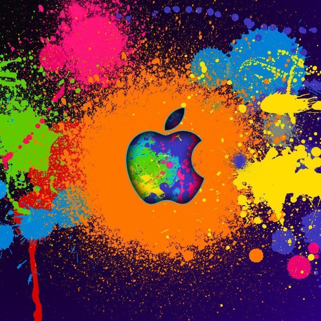 apple paint splatter wallpaper